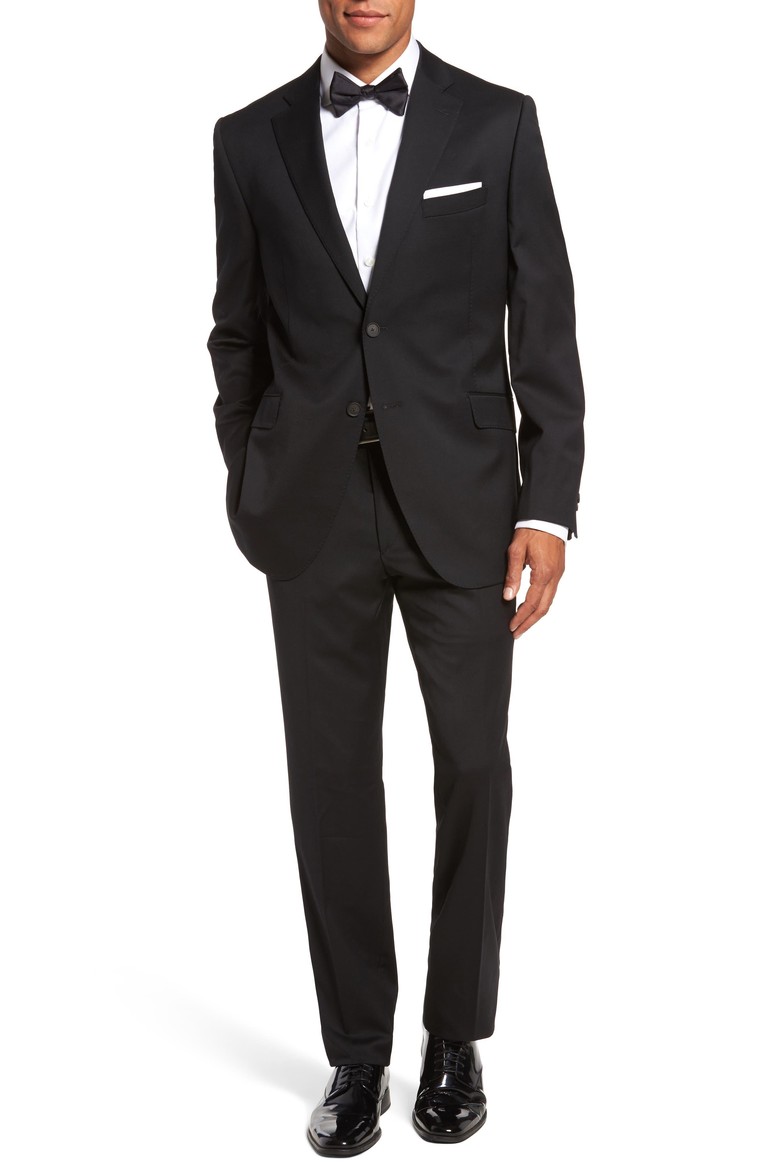Keidis Aim Classic Fit Stretch Wool Suit,                             Main thumbnail 1, color,                             BLACK