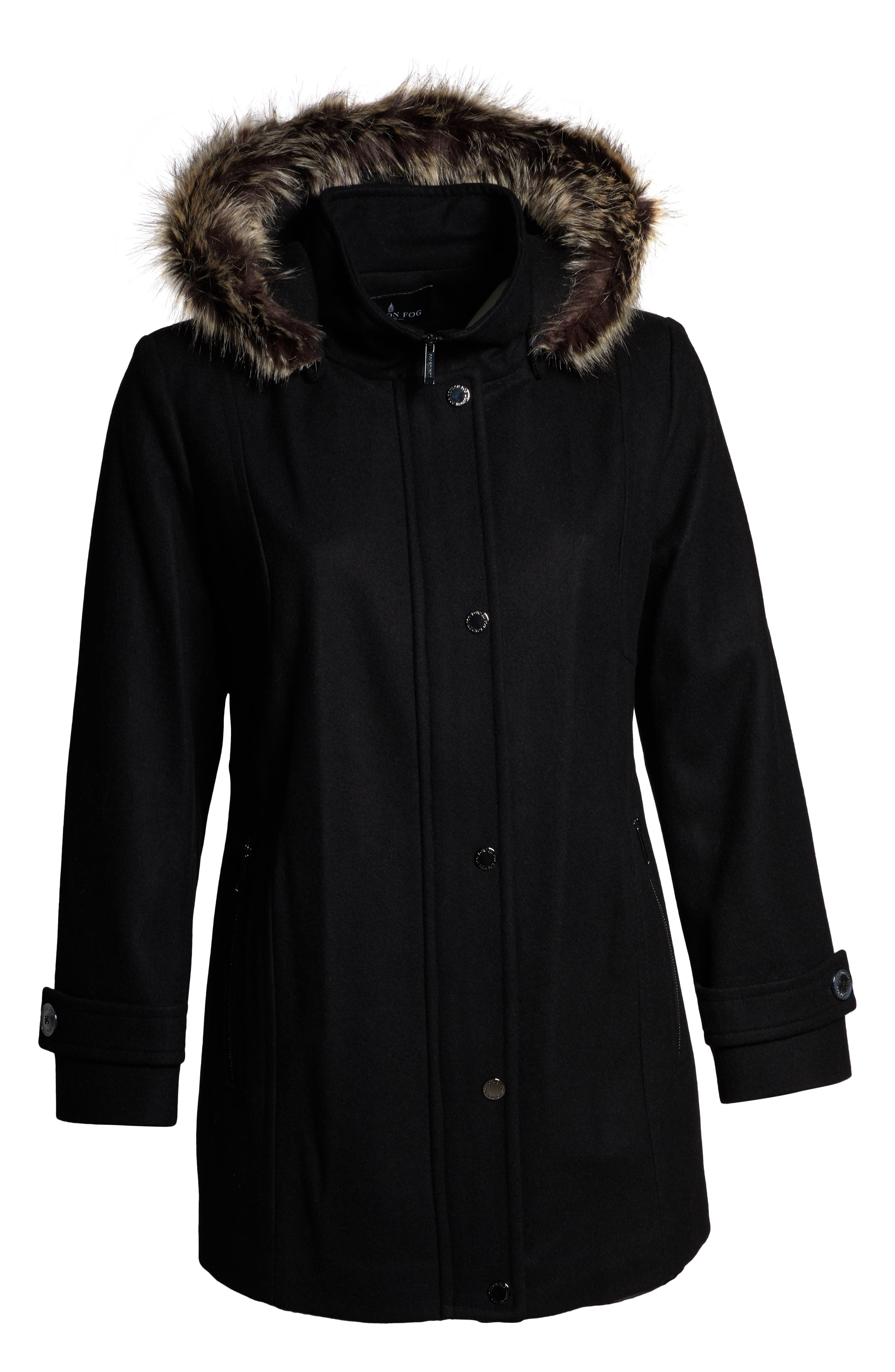 Hooded Wool Blend Coat with Faux Fur Trim,                             Alternate thumbnail 6, color,                             BLACK