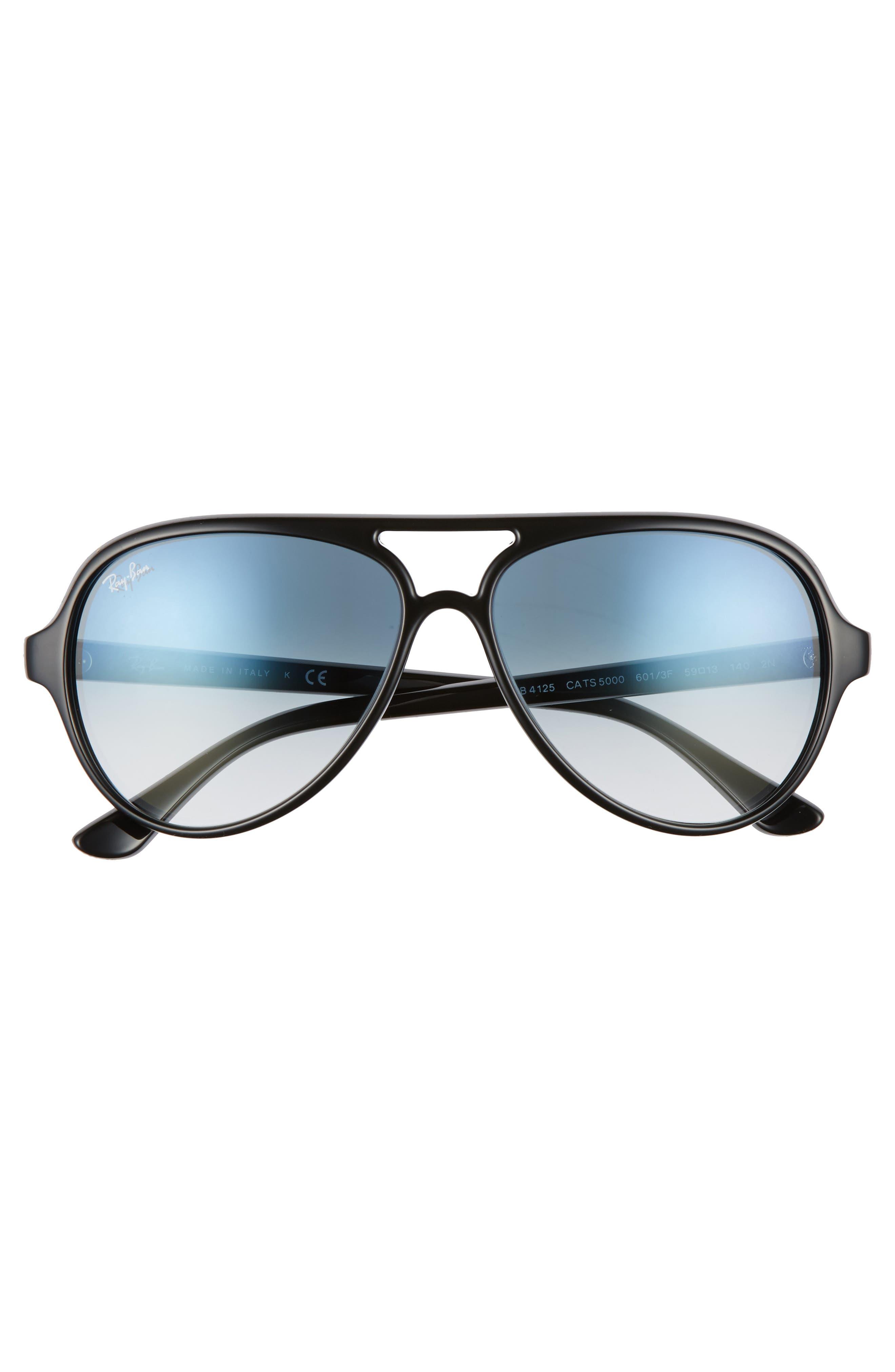 59mm Resin Aviator Sunglasses,                             Alternate thumbnail 4, color,                             003