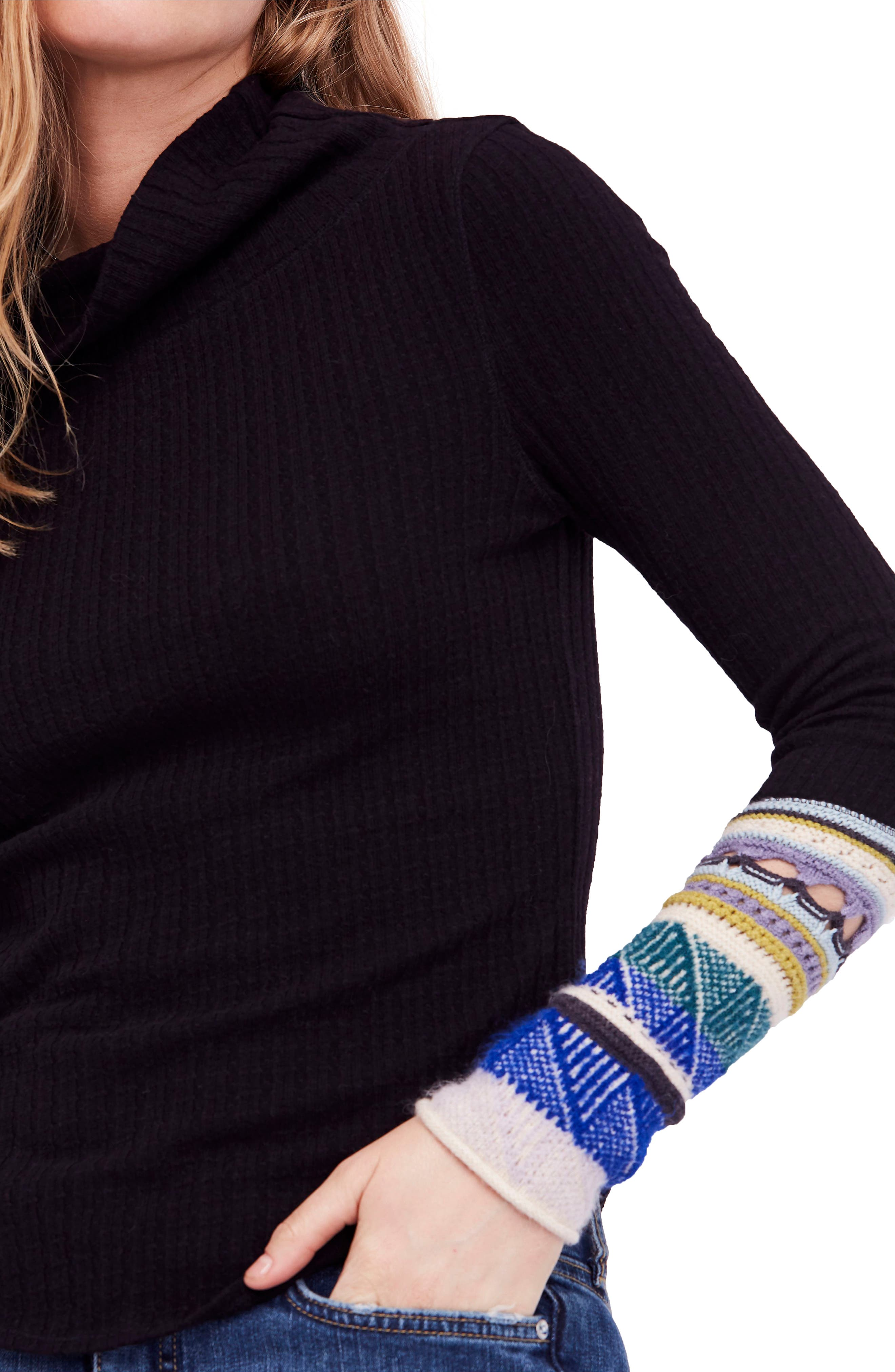Mixed-Up Cuff Sweater,                             Alternate thumbnail 4, color,                             001