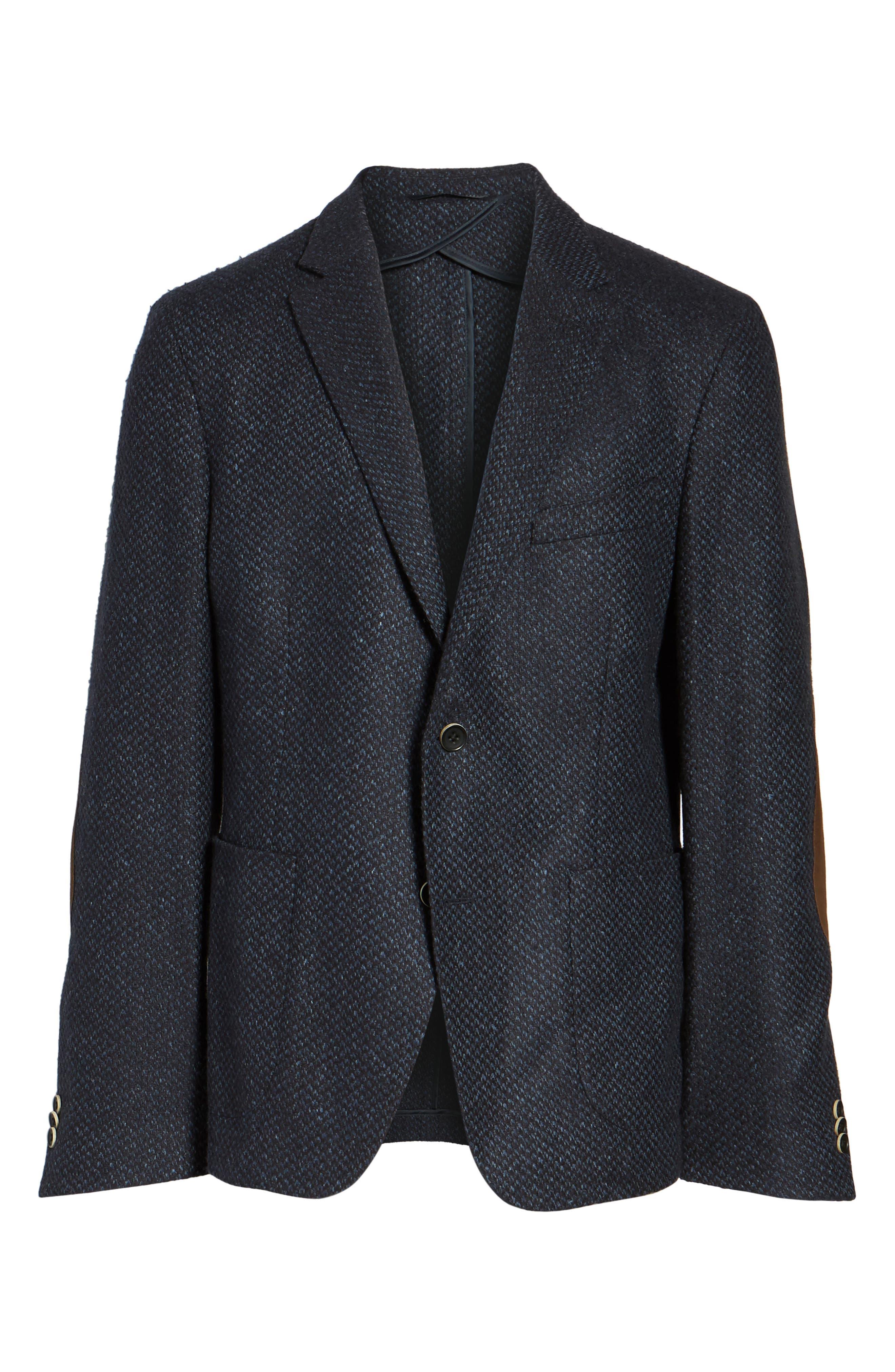 Woven Wool & Silk Blend Sport Coat,                             Alternate thumbnail 5, color,