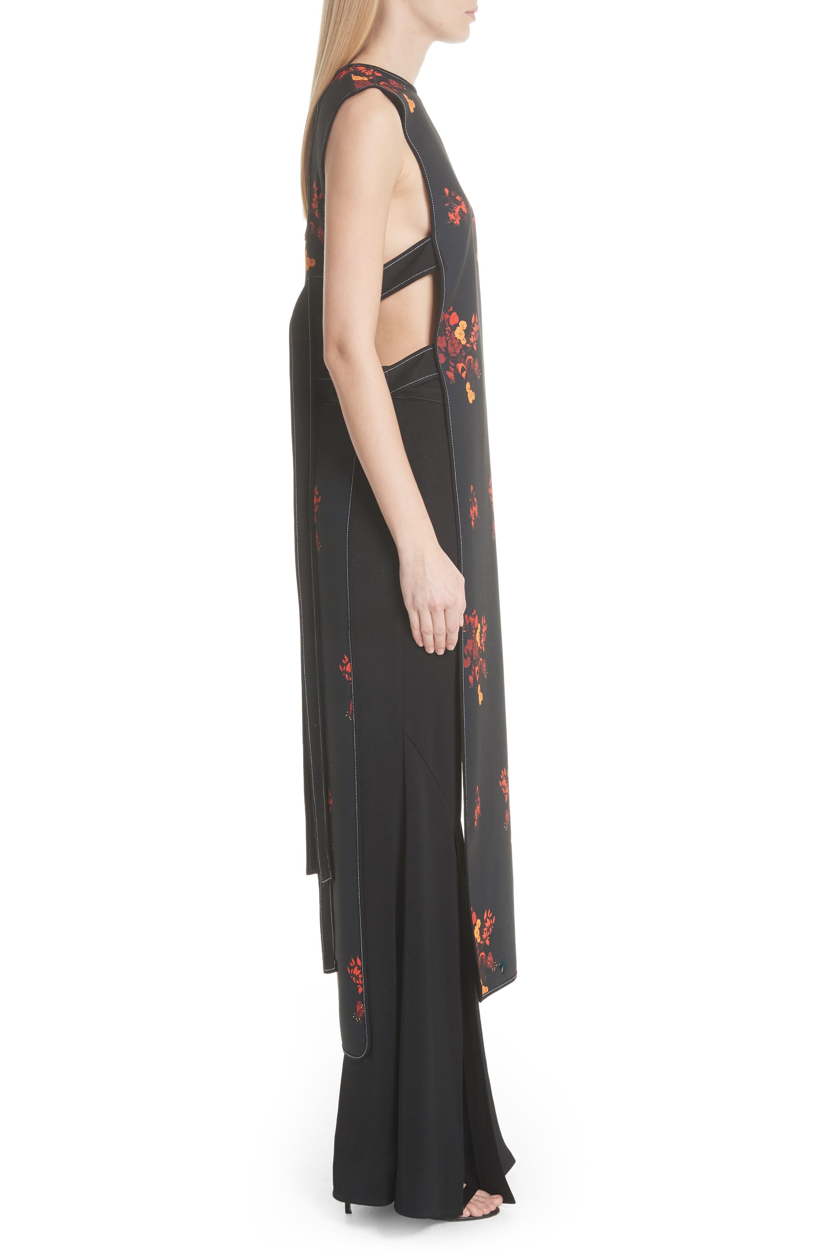 Judy Sleeveless Crepe Tunic Dress,                             Alternate thumbnail 3, color,                             800