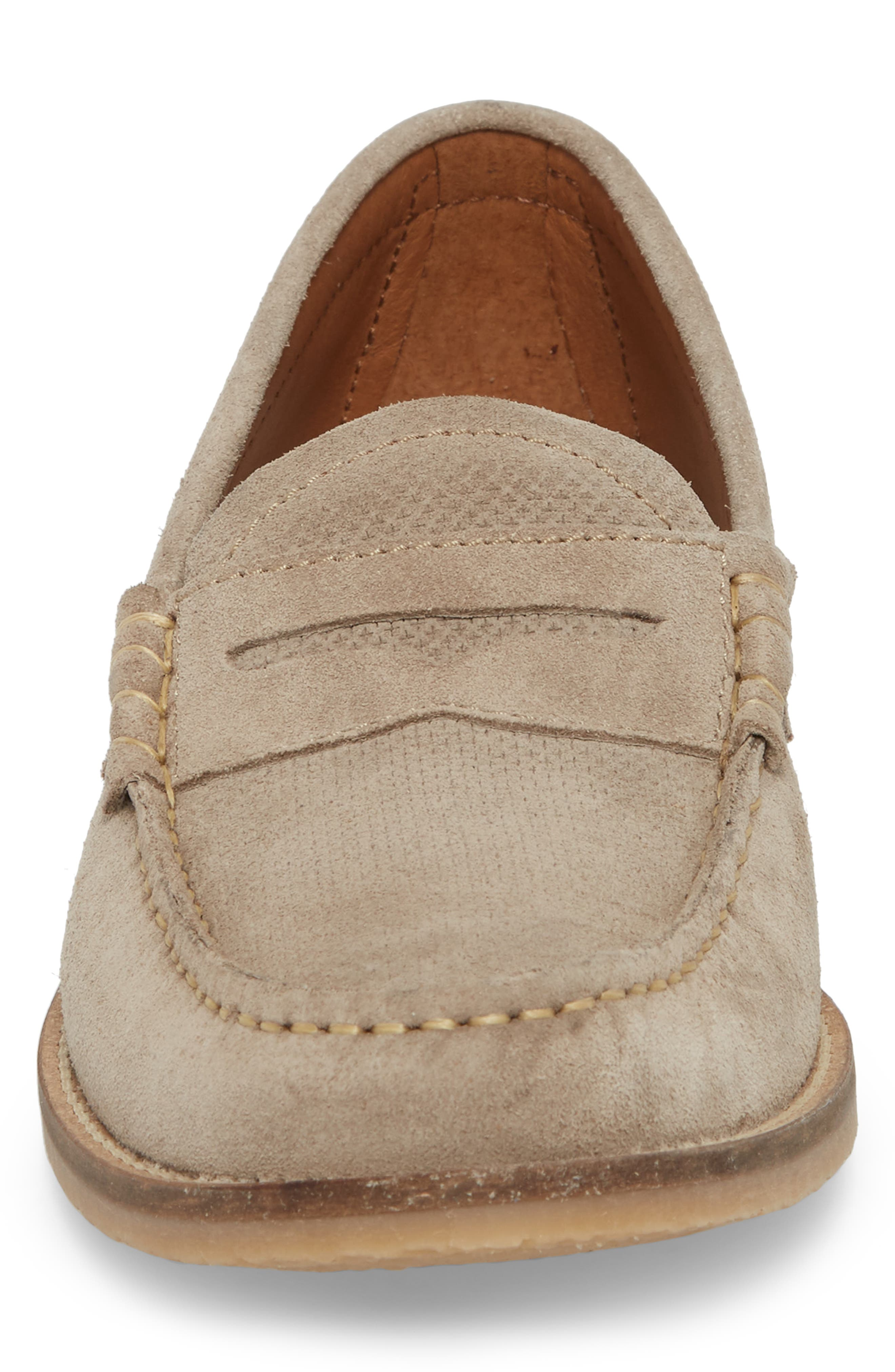 Wayne Textured Penny Loafer,                             Alternate thumbnail 4, color,                             EARTH BEIGE