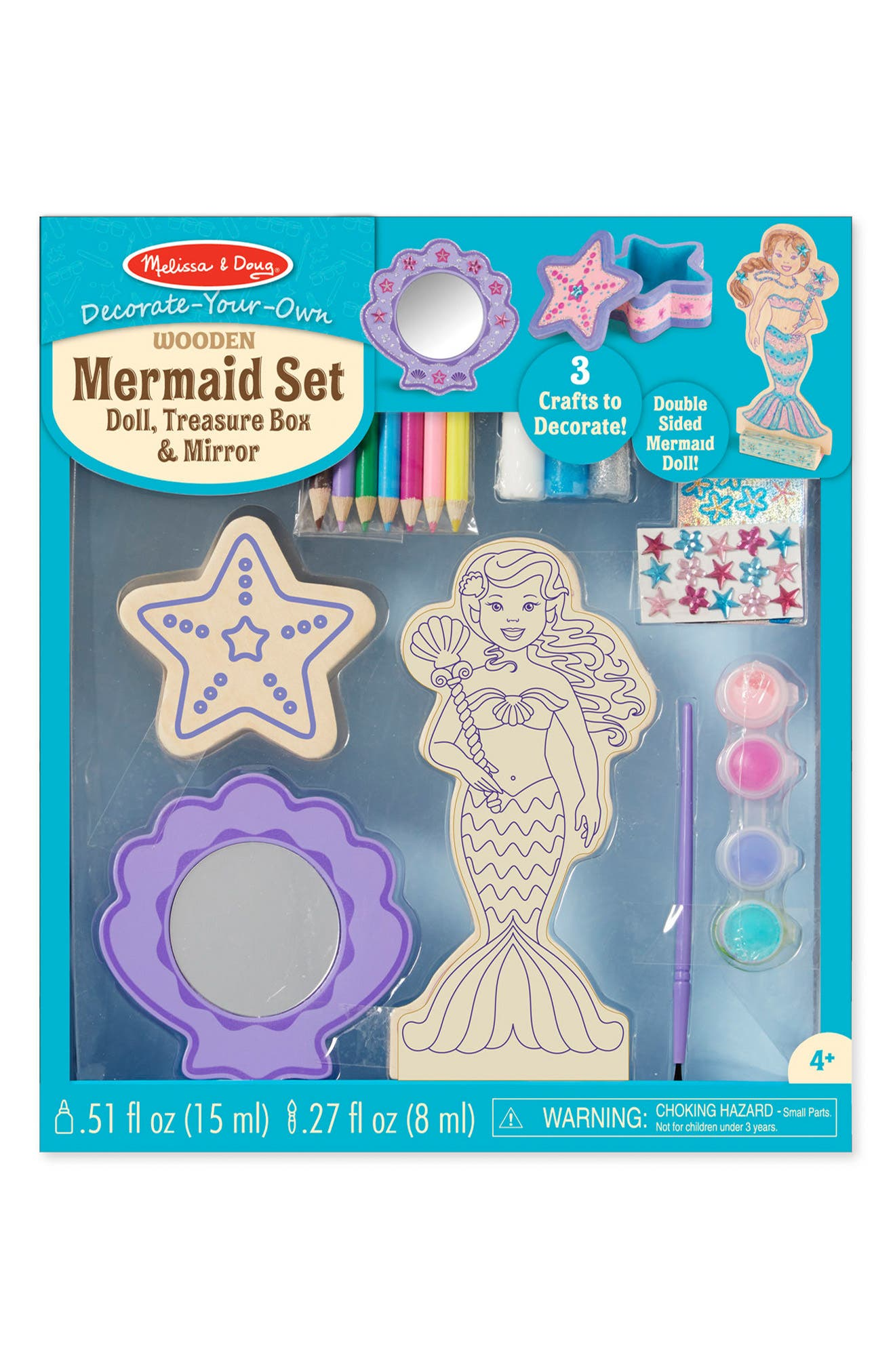 Melissa Doug Decorate Your Own Mermaid Doll Treasure Box Mirror