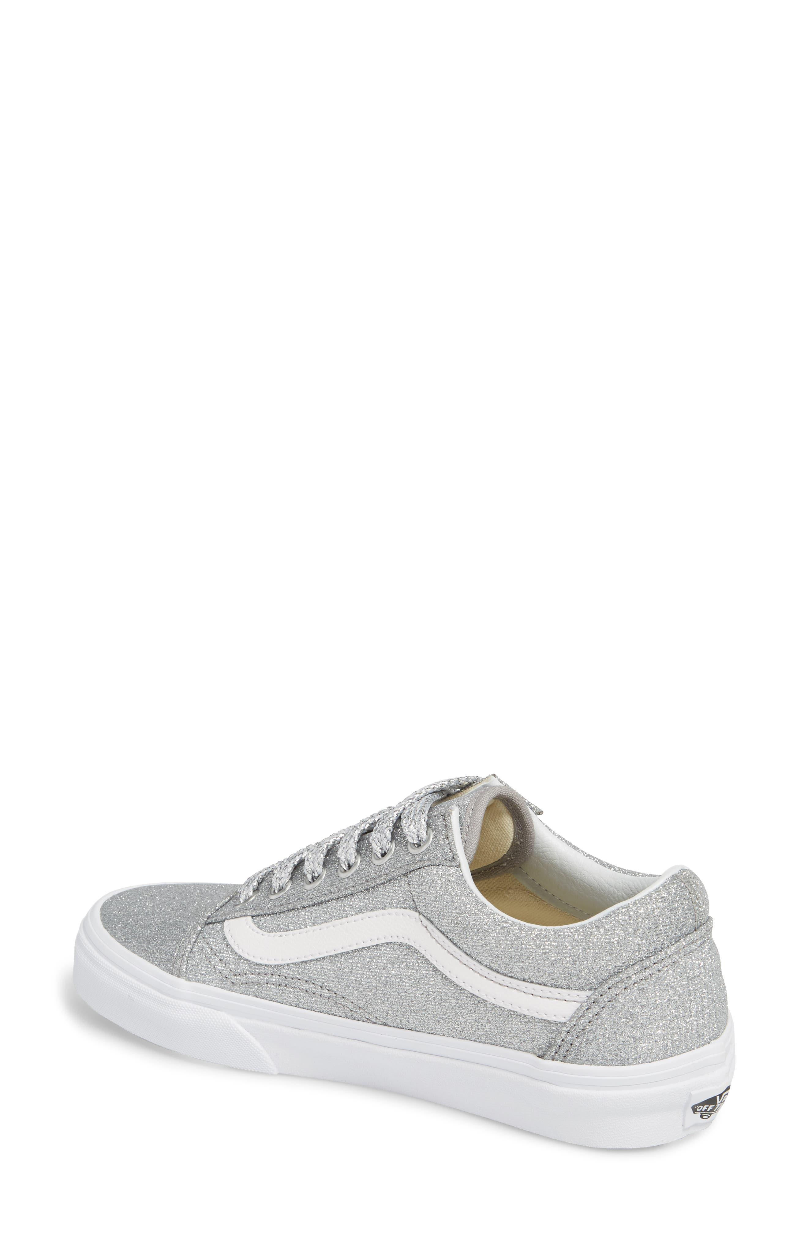 UA Old Skool Glitter Low Top Sneaker,                             Alternate thumbnail 2, color,                             SILVER/ TRUE WHITE GLITTER
