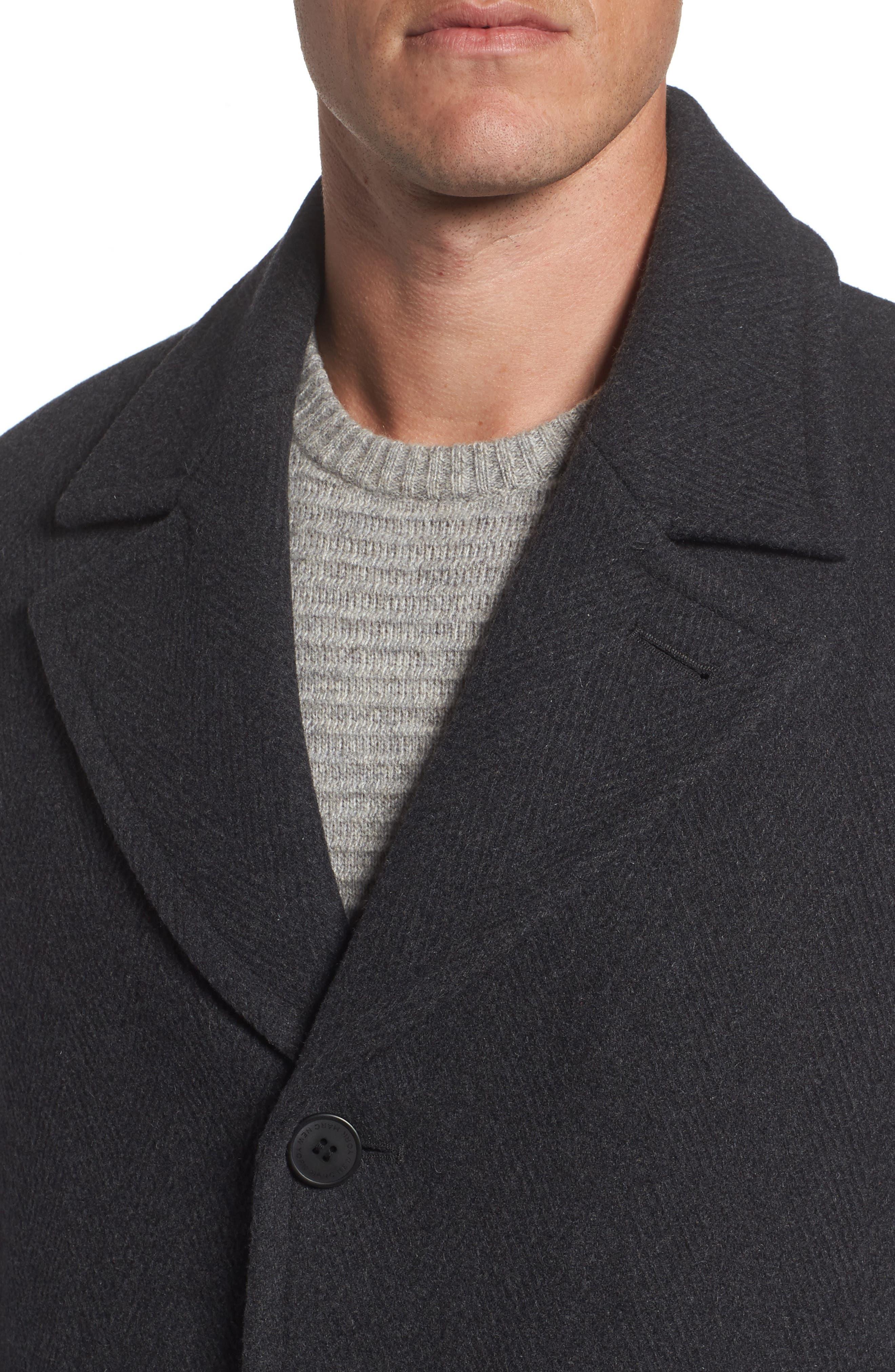 Herringbone Wool Blend Car Coat,                             Alternate thumbnail 7, color,