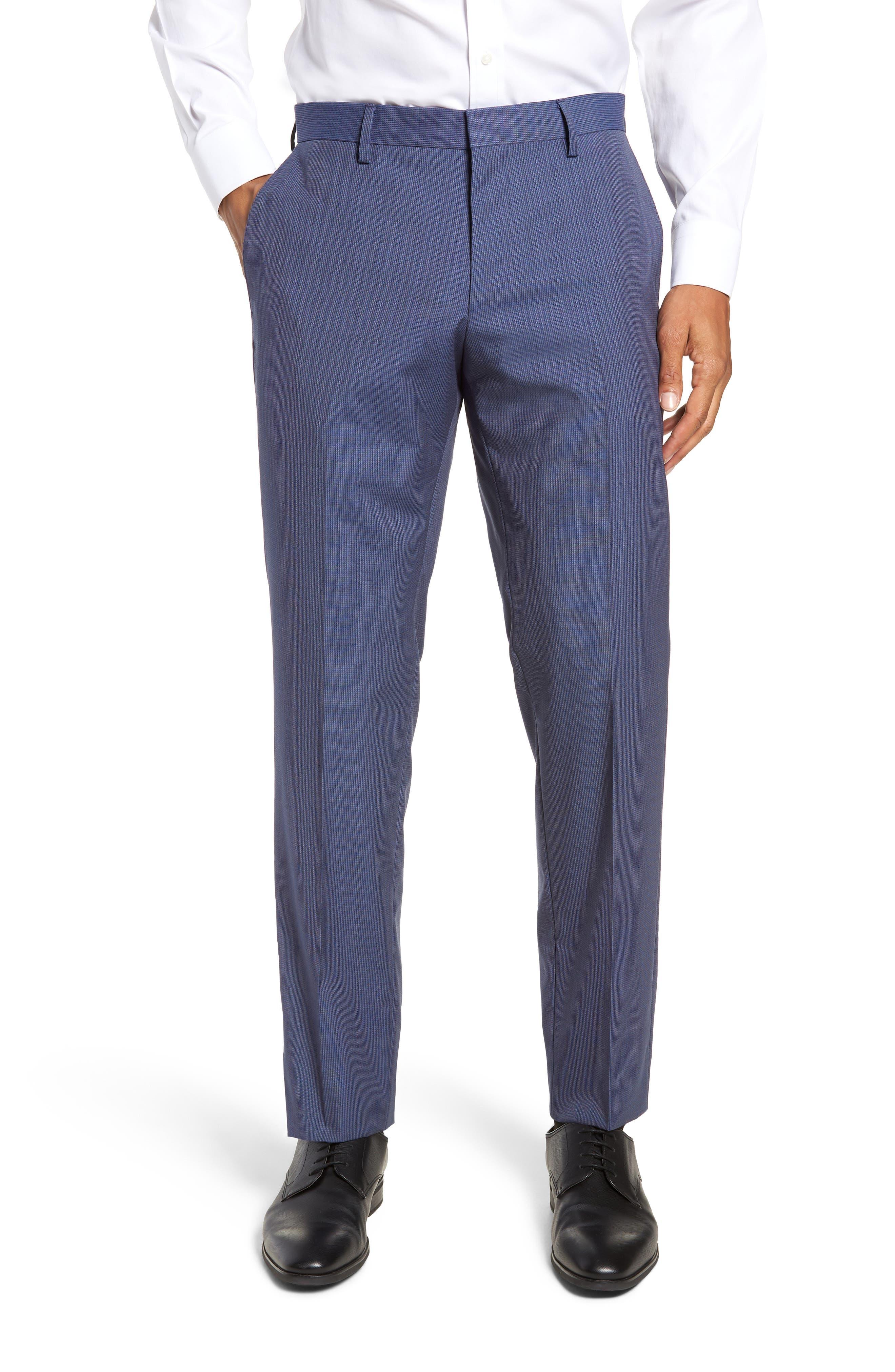 Huge/Genius Trim Fit Solid Three Piece Wool Suit,                             Alternate thumbnail 8, color,                             BLUE