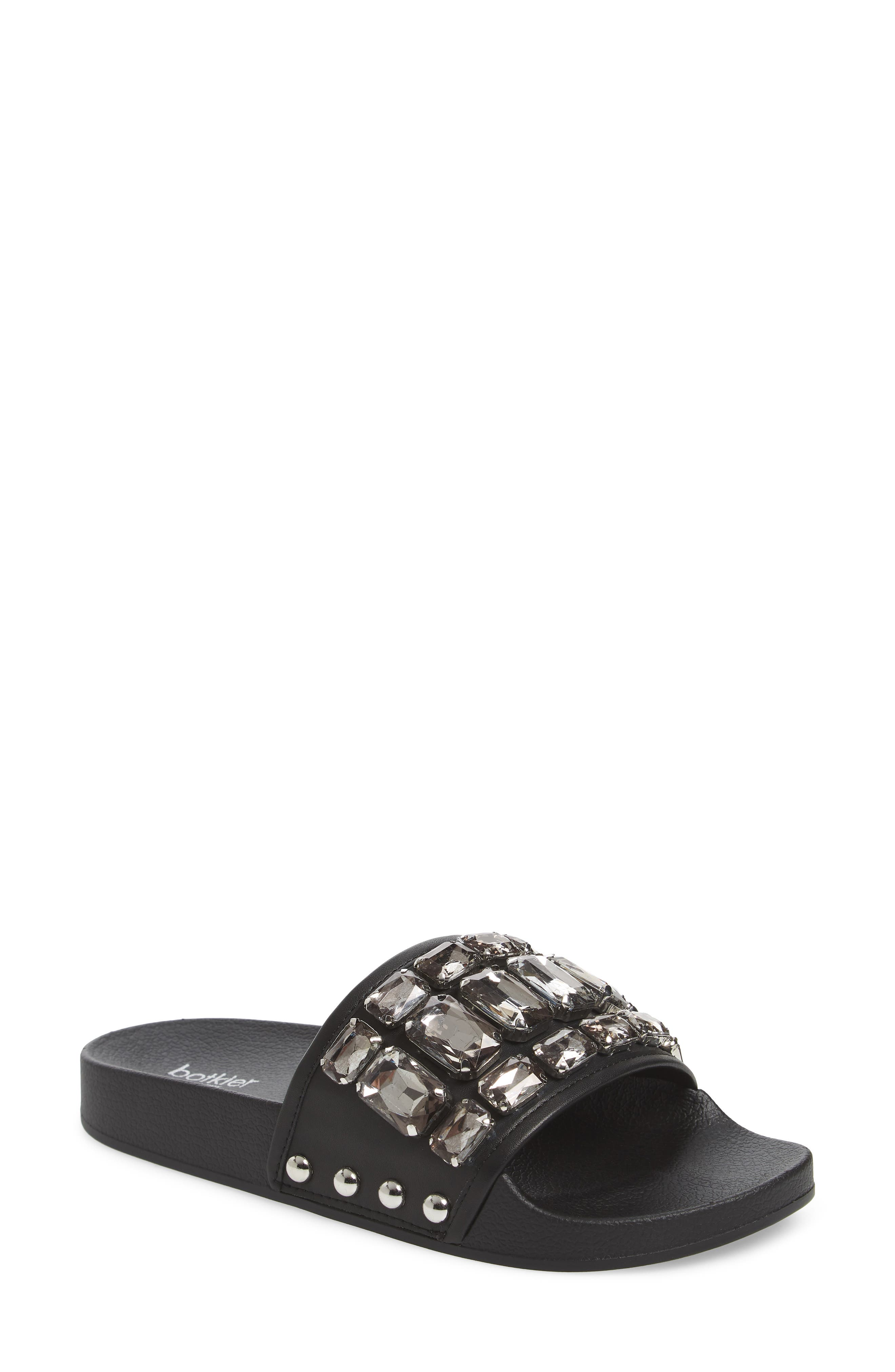 Freda Crystal Slide Sandal,                             Main thumbnail 1, color,                             BLACK LEATHER