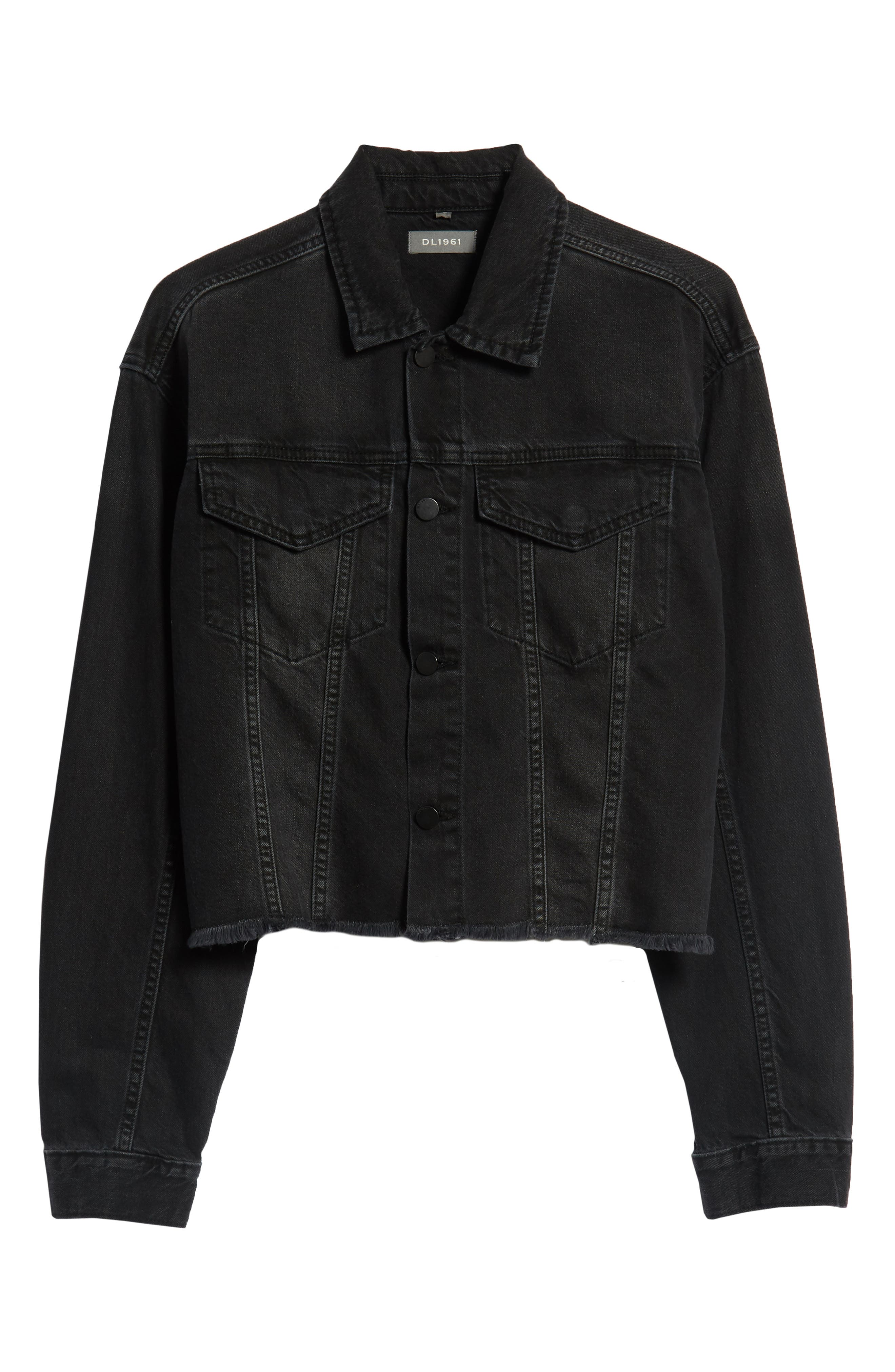Annie Crop Denim Jacket,                             Alternate thumbnail 6, color,                             BLACKBURN