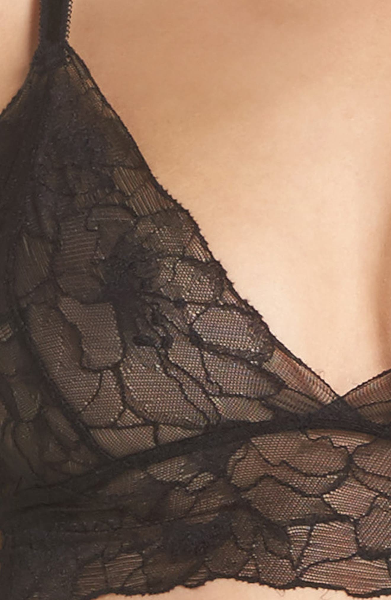 All Lace Glamour Longline Triangle Bralette,                             Alternate thumbnail 5, color,                             BLACK