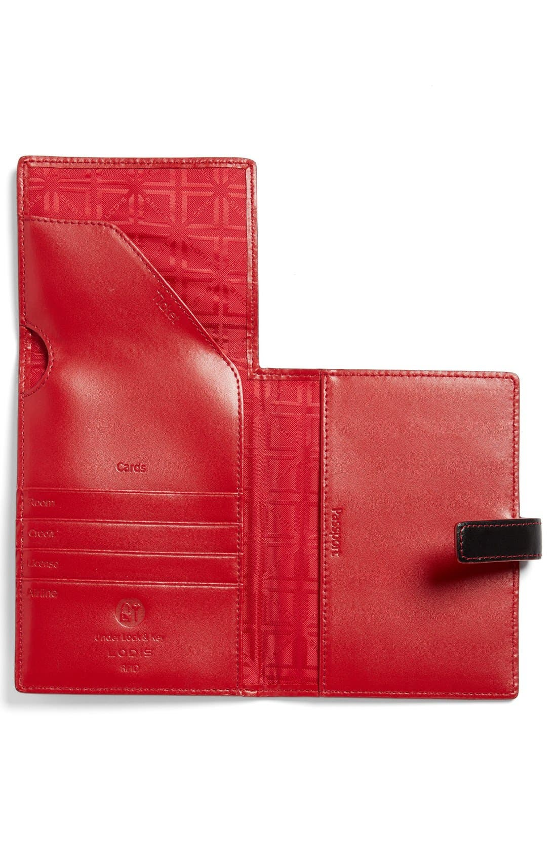 Audrey RFID Leather Passport Wallet,                             Alternate thumbnail 3, color,                             BLACK