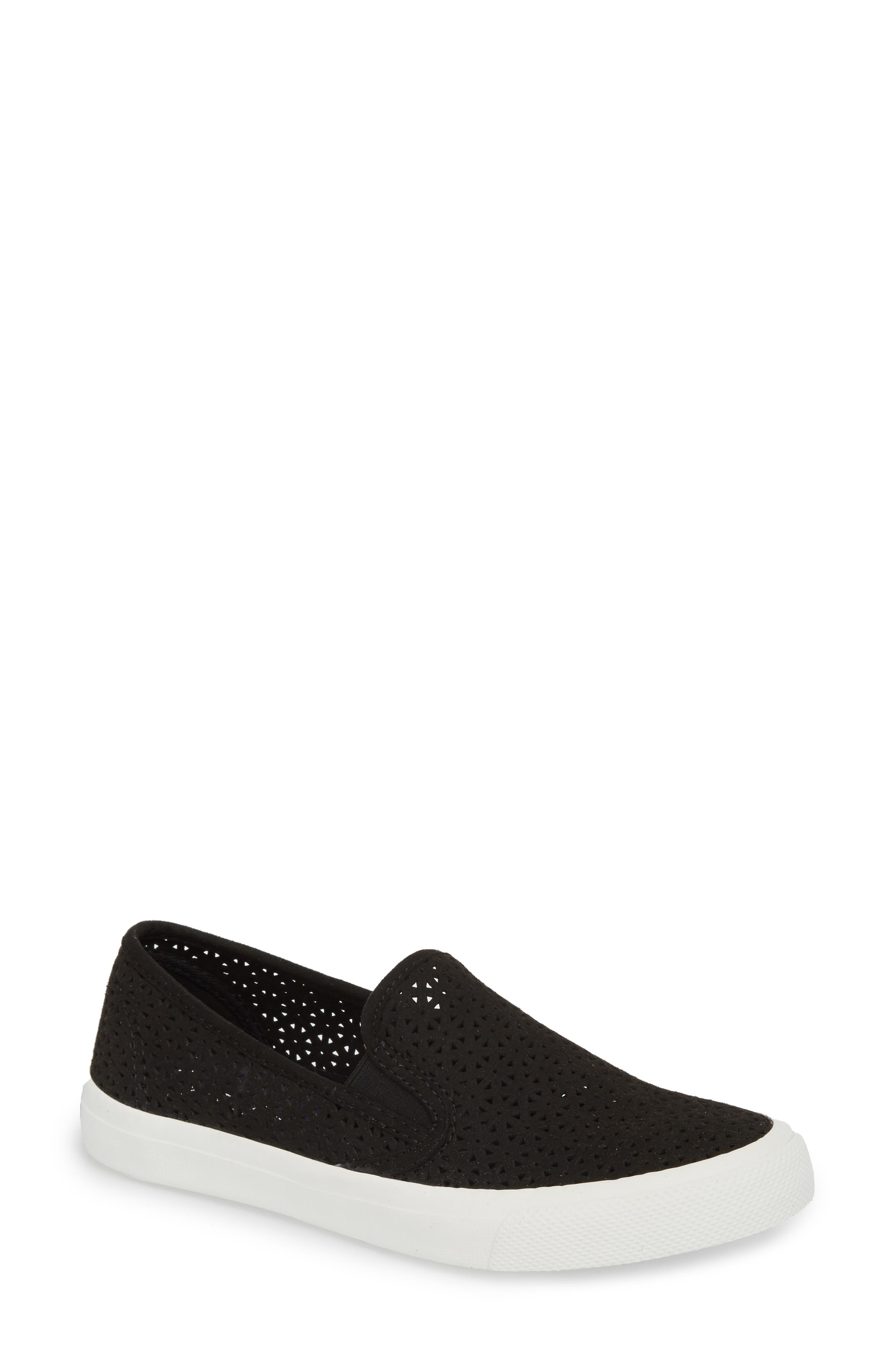 Seaside Nautical Perforated Slip-On Sneaker,                             Main thumbnail 1, color,                             BLACK LEATHER