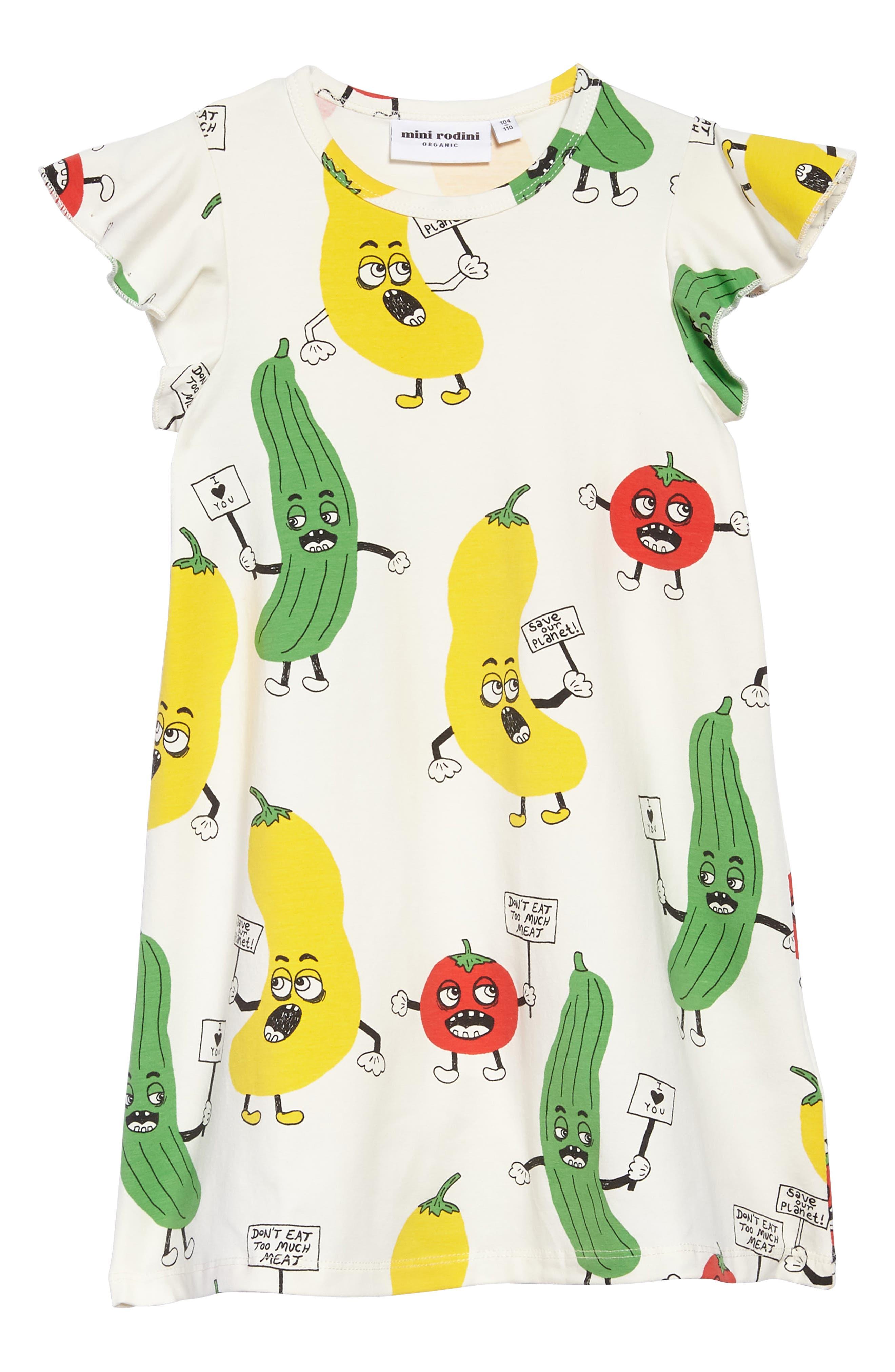 Veggie Flutter Sleeve Dress,                             Main thumbnail 1, color,                             100