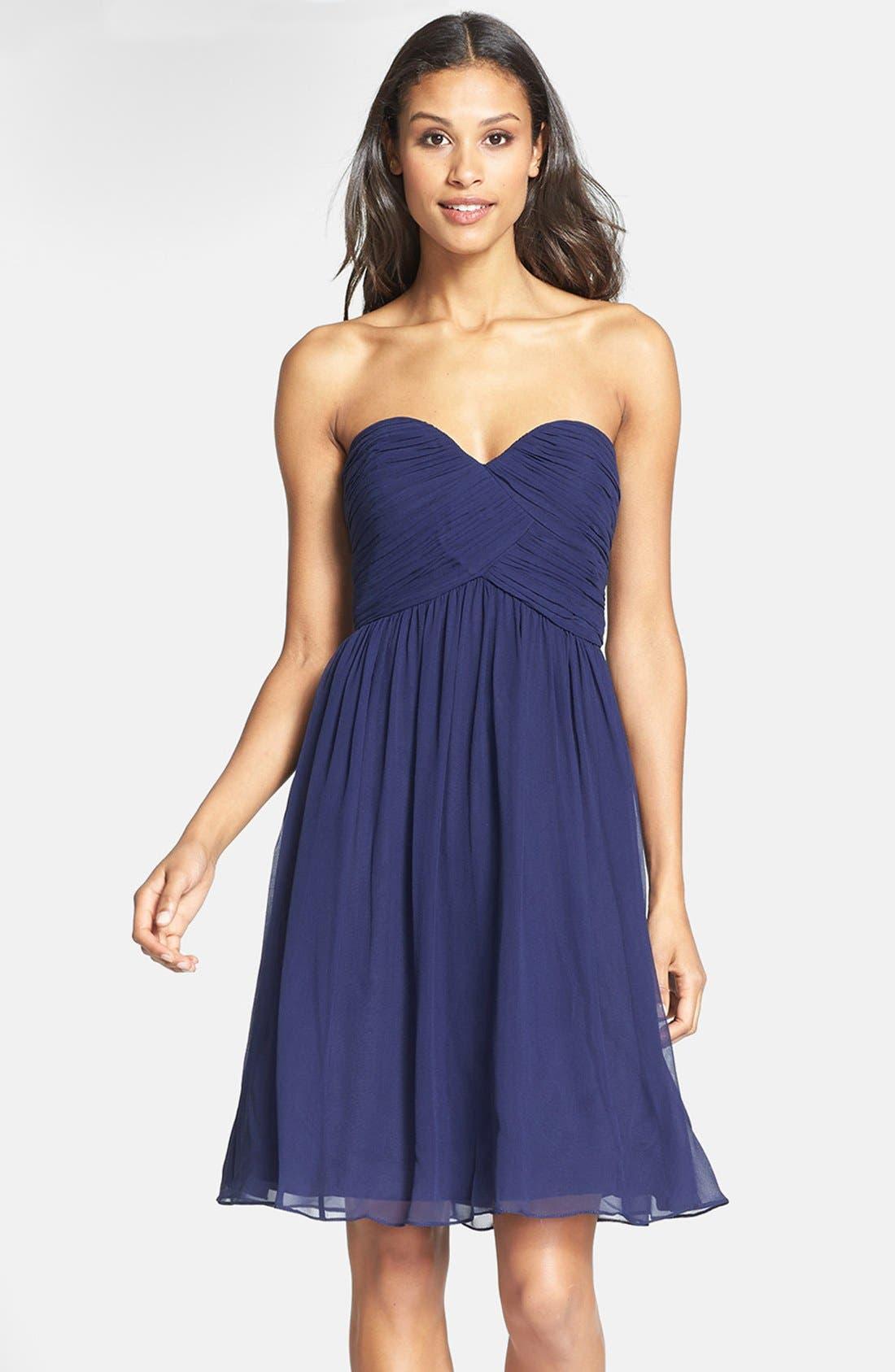 'Morgan' Strapless Silk Chiffon Dress,                             Main thumbnail 12, color,
