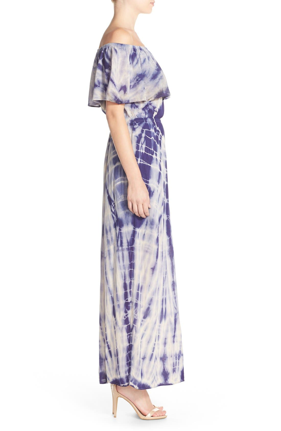 Tie Dye Off Shoulder Maxi Dress,                             Alternate thumbnail 10, color,