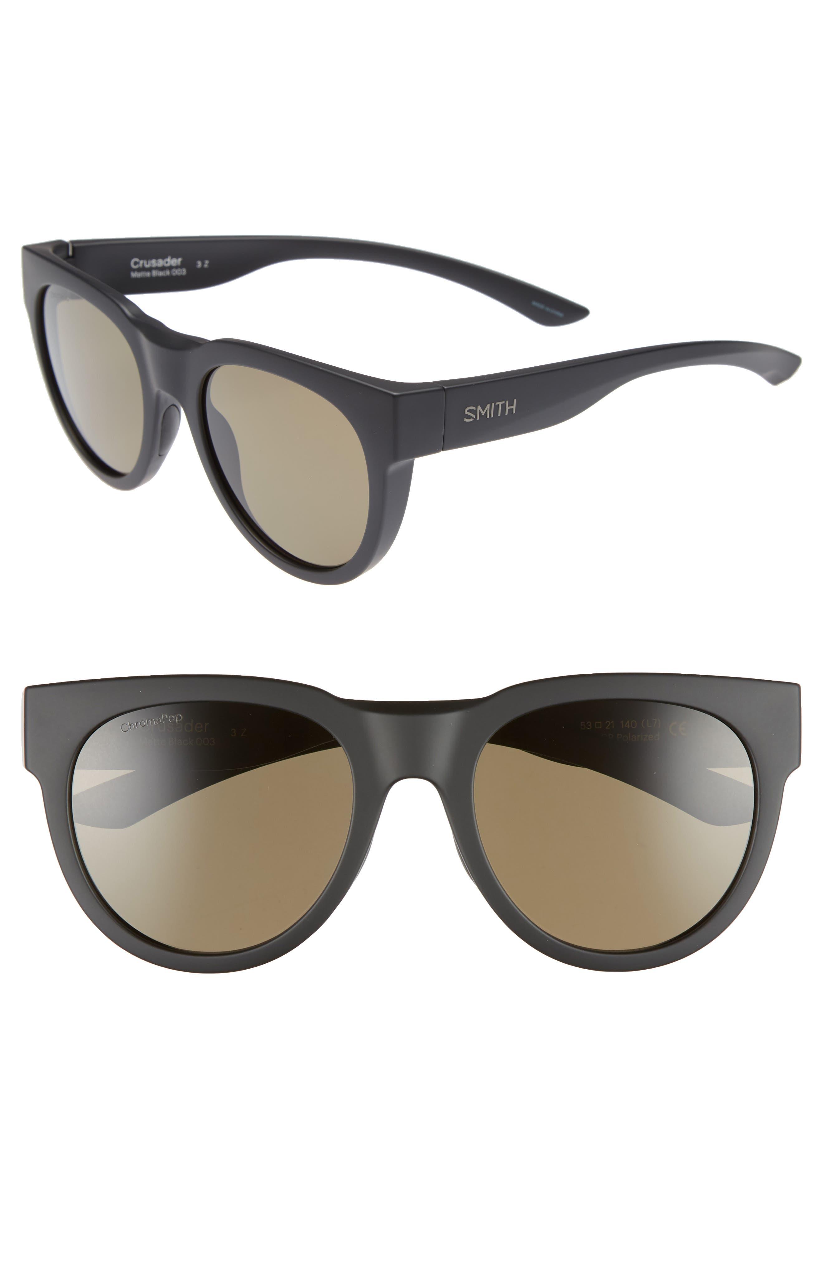 Crusader 53mm ChromaPop<sup>™</sup> Polarized Round Sunglasses,                         Main,                         color, MATTE BLACK/ GREY GREEN