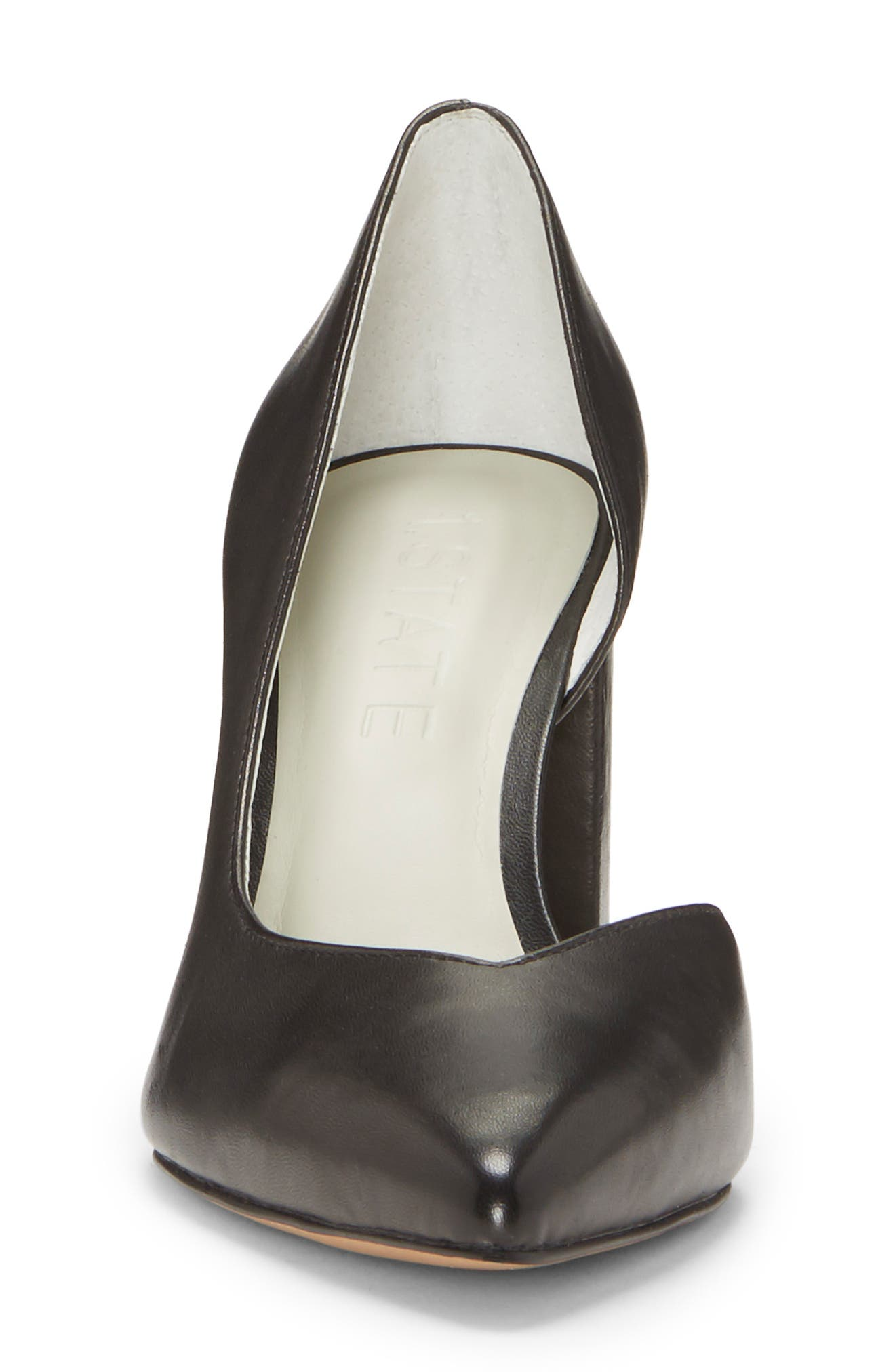 Sisteen Half d'Orsay Pump,                             Alternate thumbnail 4, color,                             BLACK LEATHER