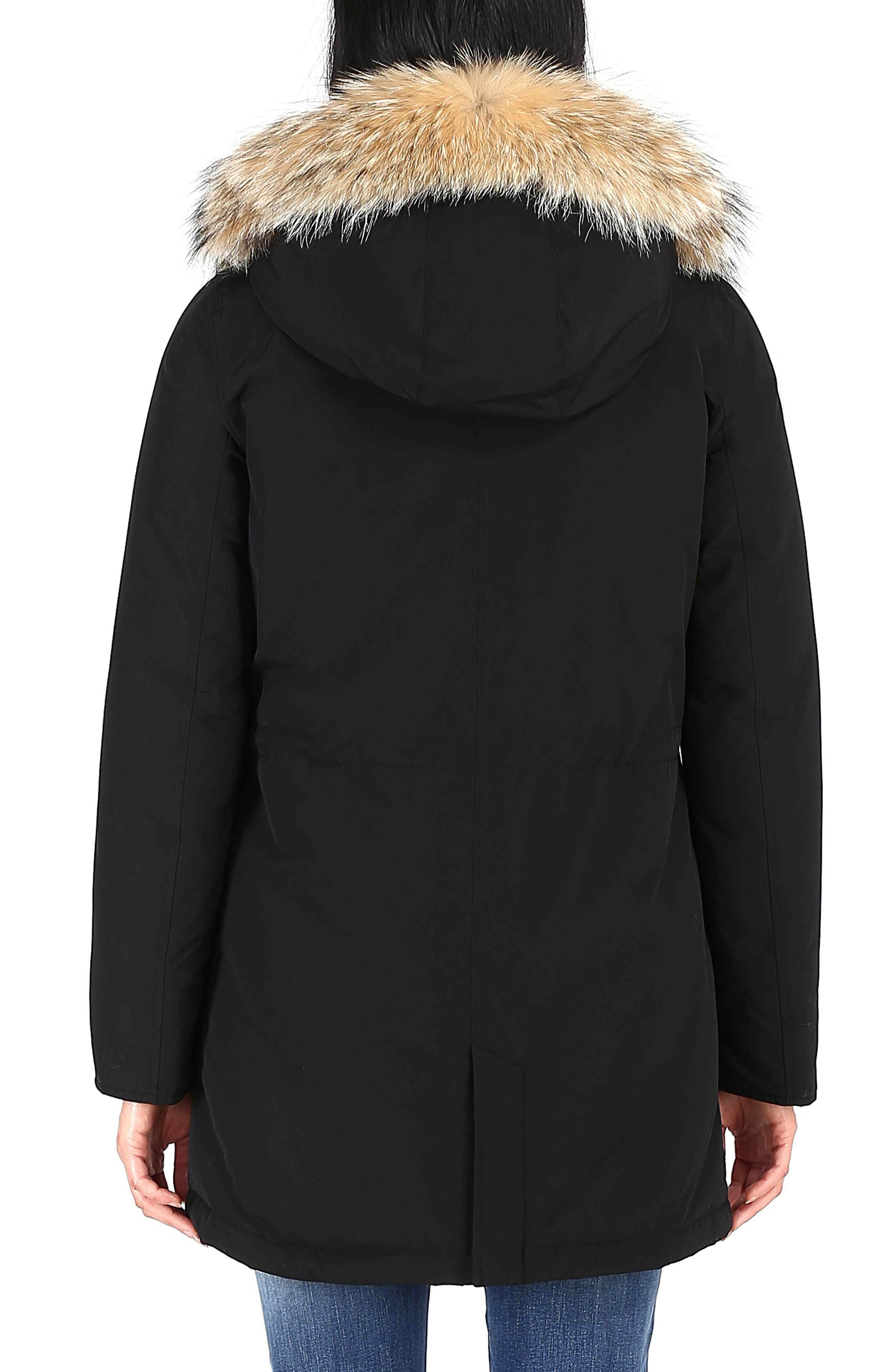 High Collar Arctic Down Parka with Genuine Coyote Fur Trim,                             Alternate thumbnail 2, color,                             BLACK