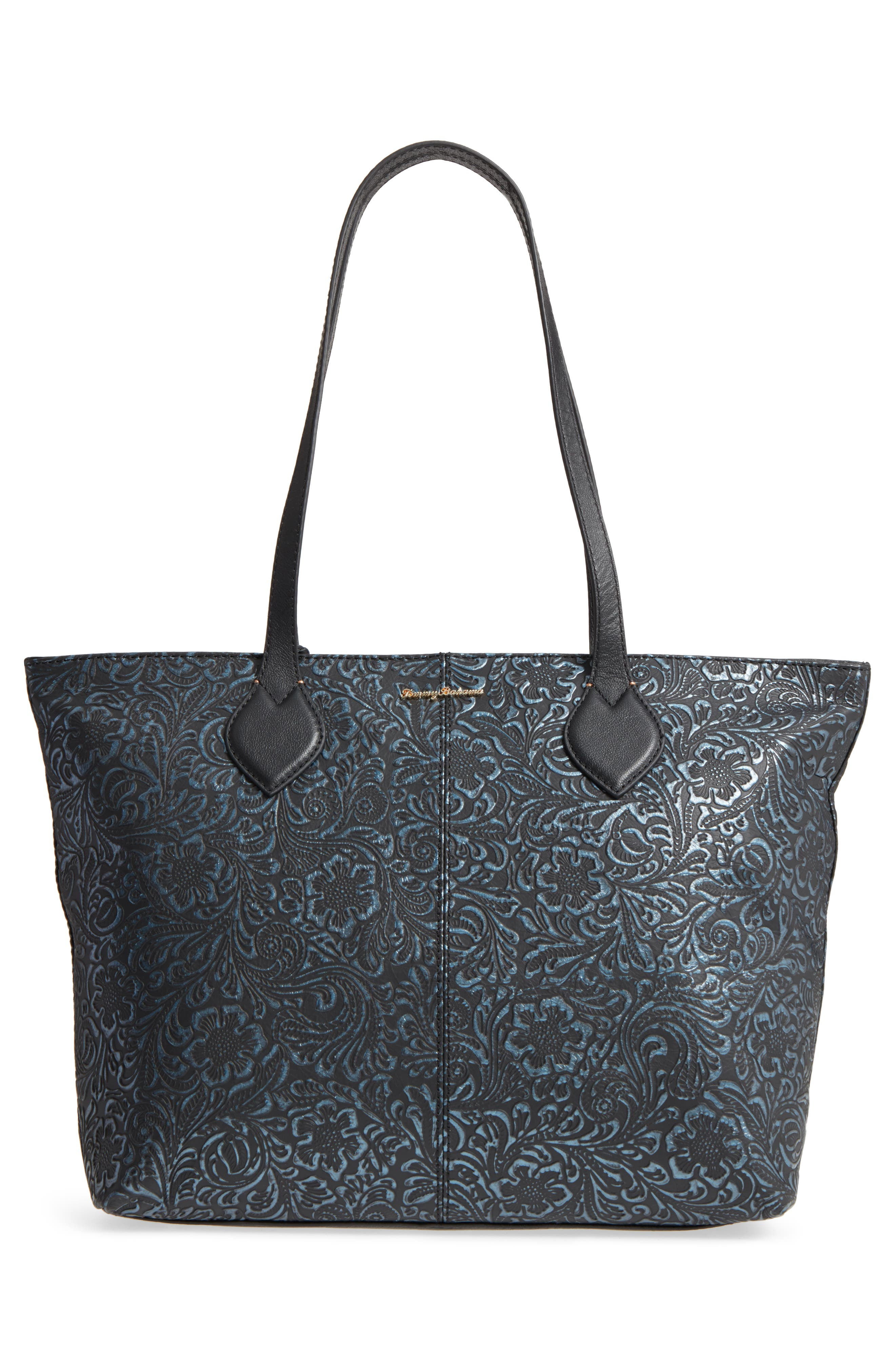 Barbados Leather Tote,                             Alternate thumbnail 3, color,                             001