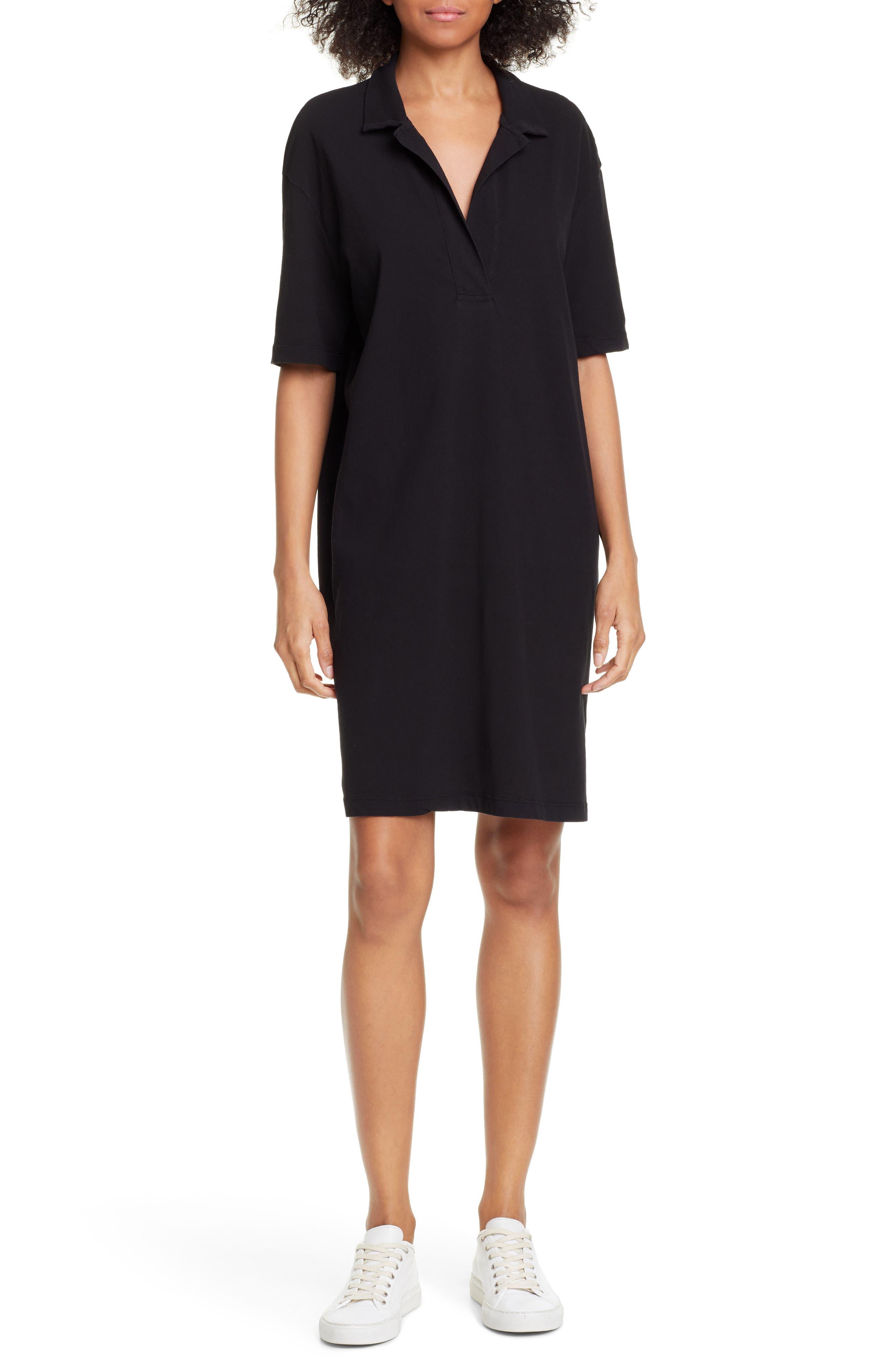 James Perse Oversize Polo Dress, Black