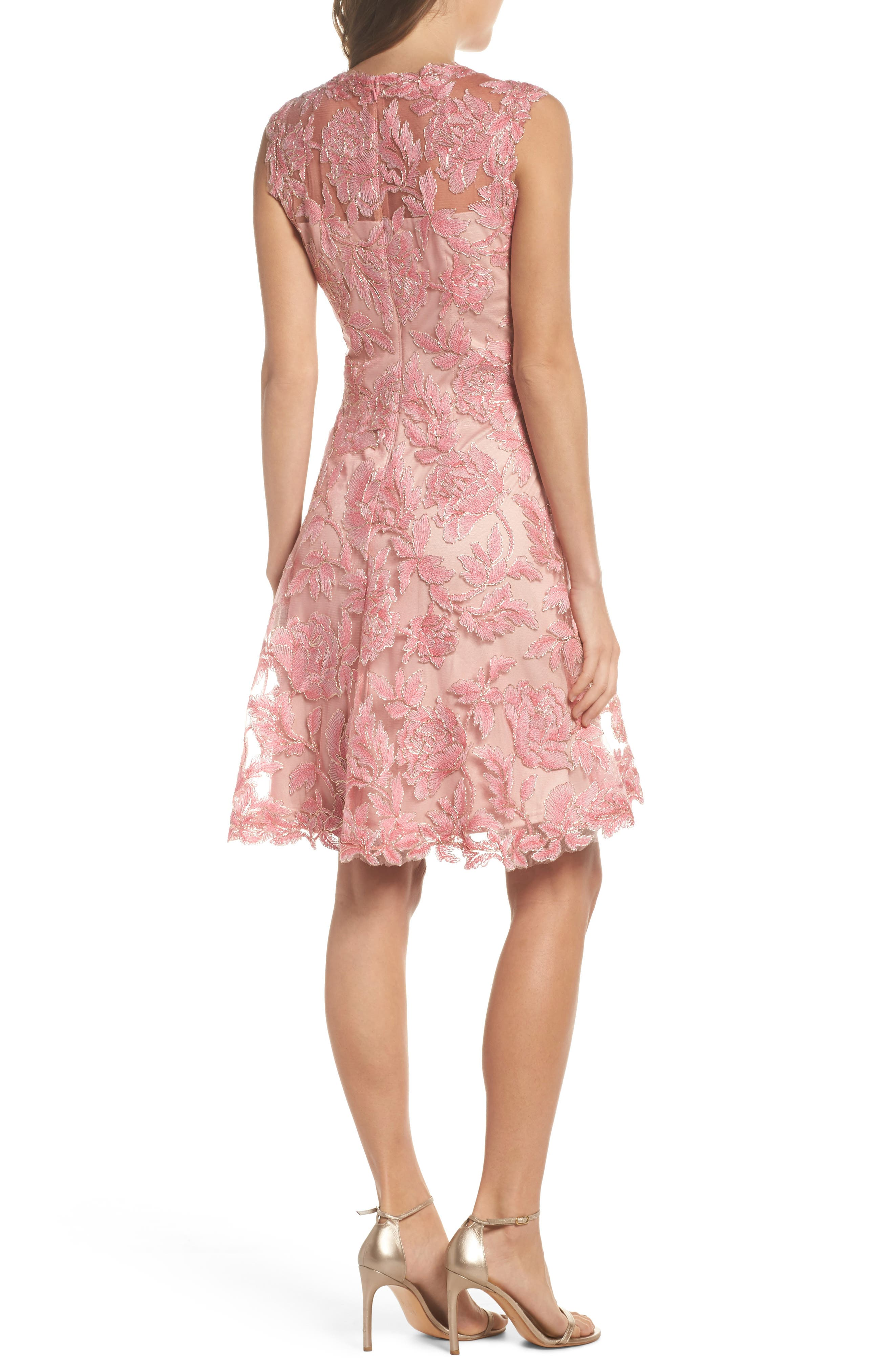 Noelle Floral Fit & Flare Dress,                             Alternate thumbnail 6, color,