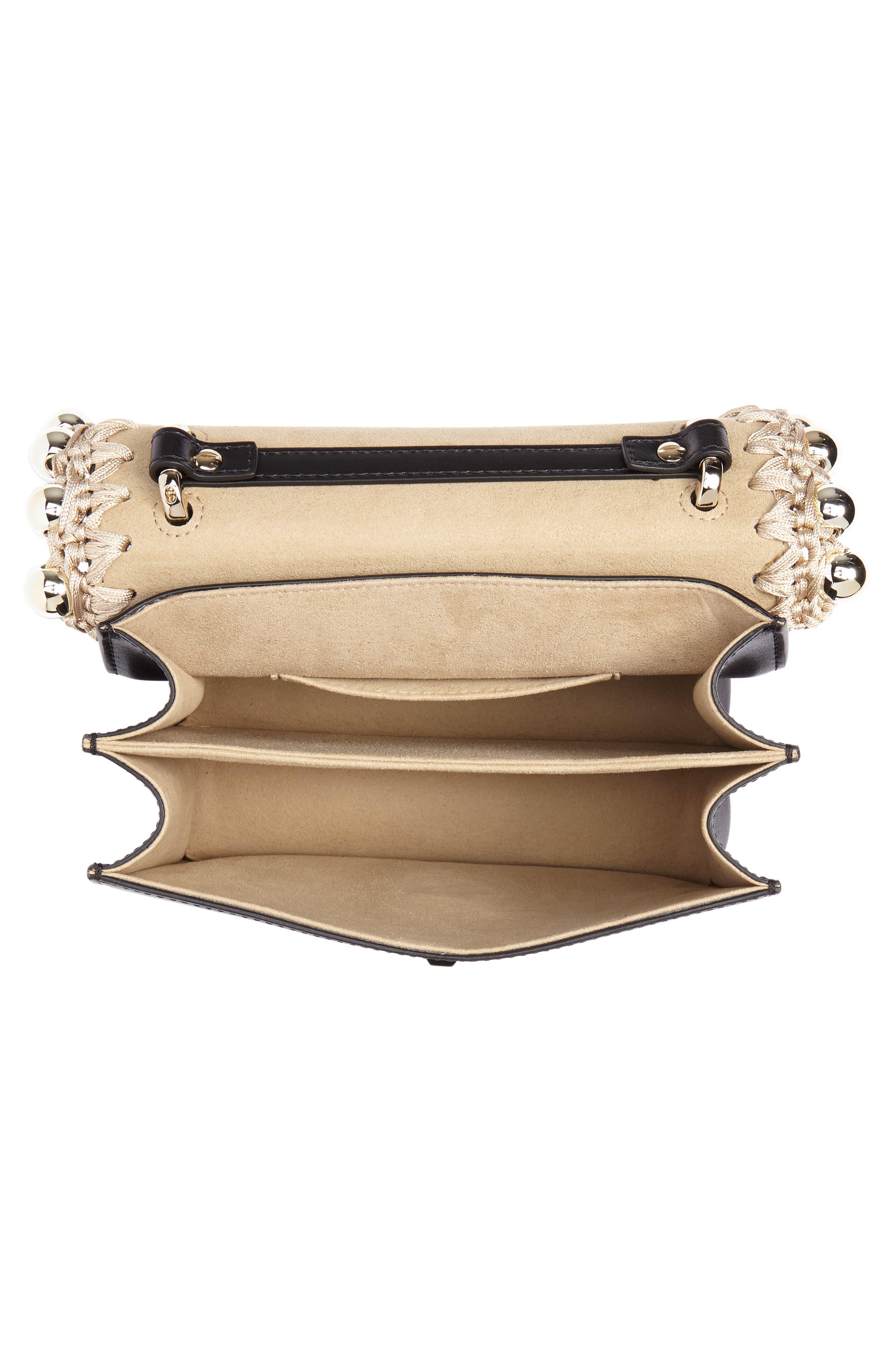 Small Kan I Leather Shoulder Bag,                             Alternate thumbnail 4, color,                             NERO/ ORO/ CHIARO