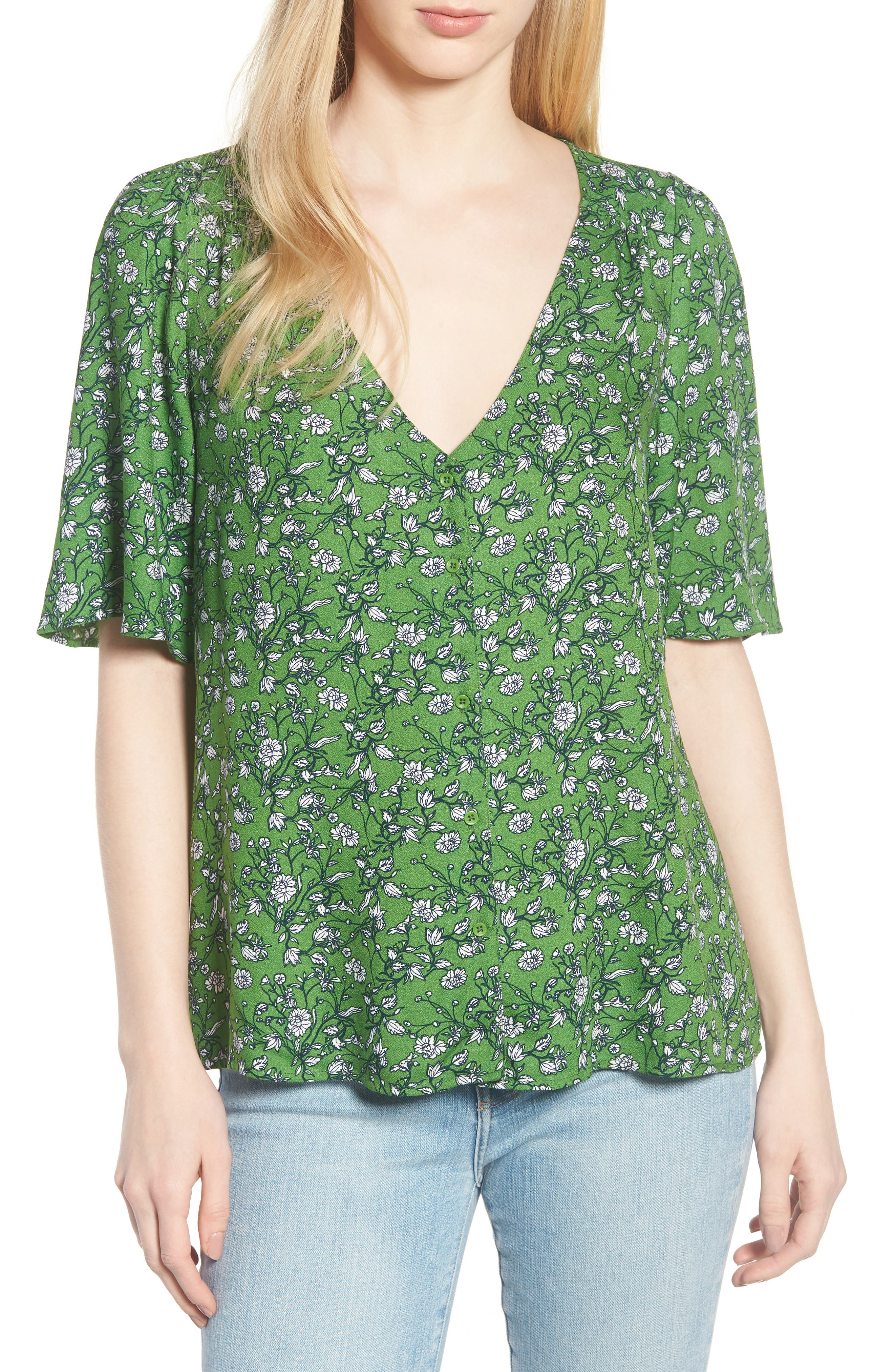 Button Front V-Neck Top,                             Main thumbnail 1, color,                             GREEN CANOPY FLOWER BRANCHES