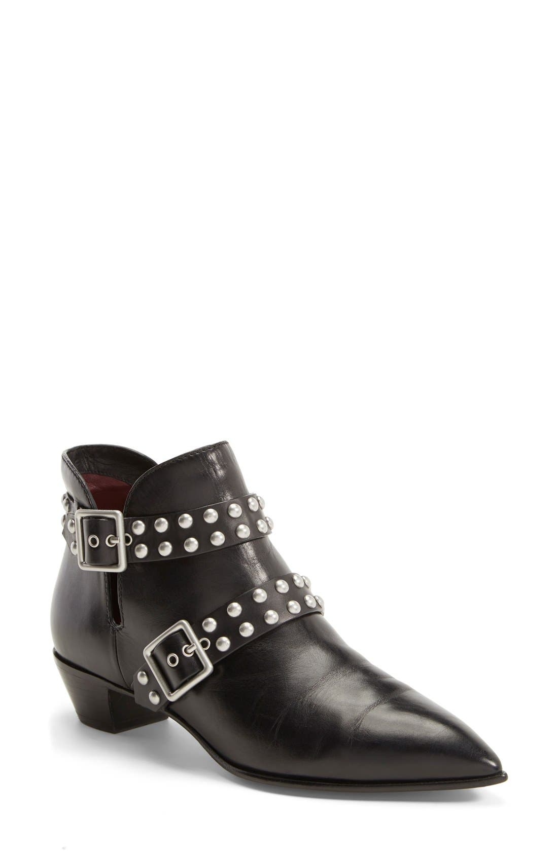 MARC BY MARC JACOBS 'Carroll' Studded Leather Pointy Toe Ankle Boot, Main, color, 001