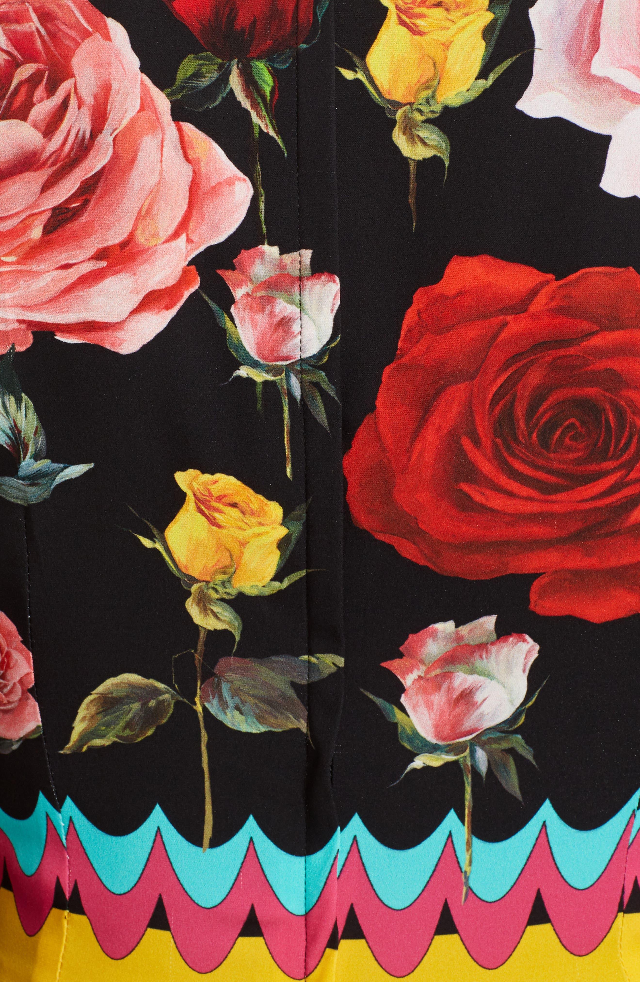 Charm Rose Print Stretch Silk Maxi Dress,                             Alternate thumbnail 5, color,                             001