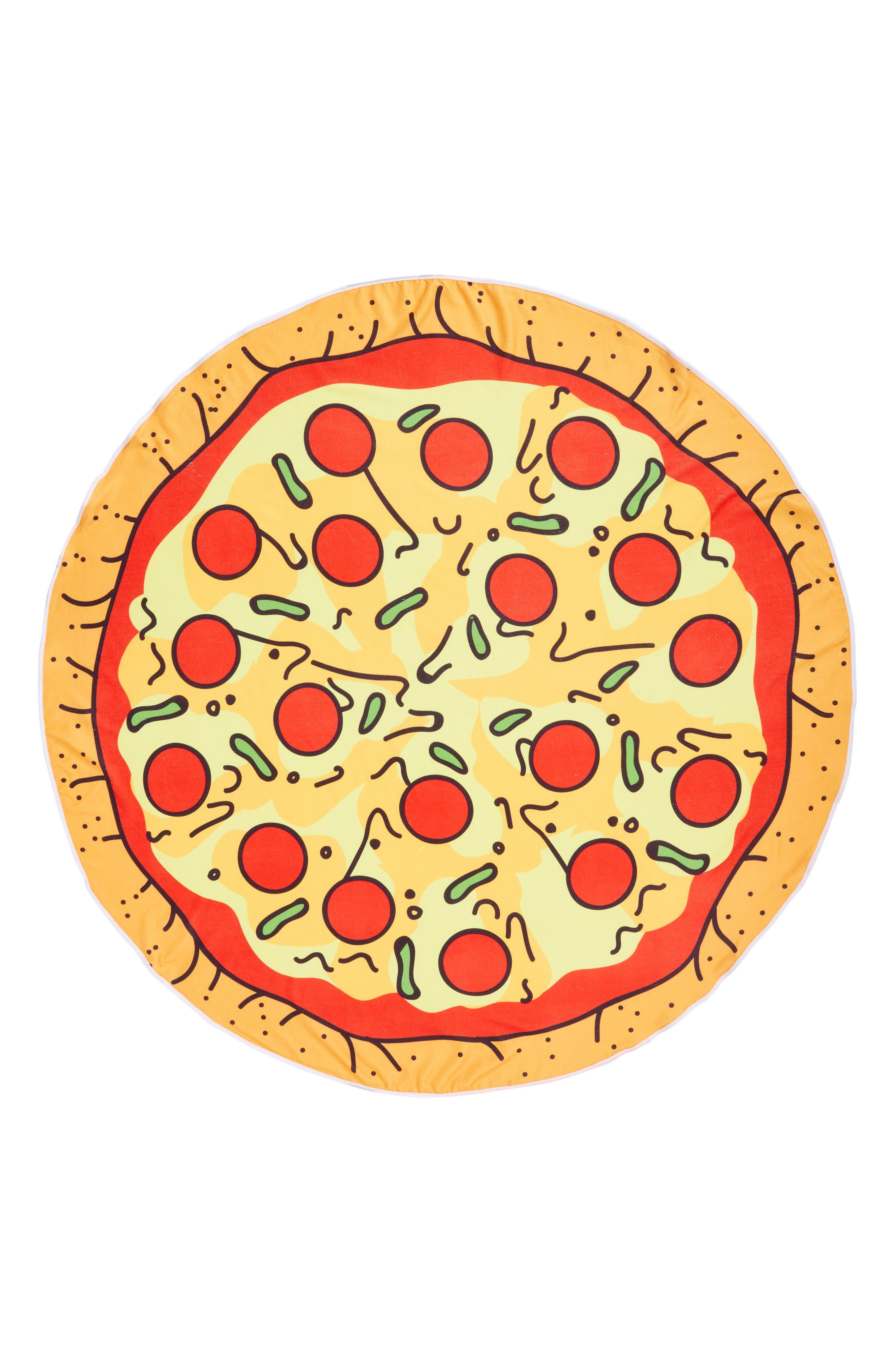 Cheesy Pizza Round Towel,                         Main,                         color, 971