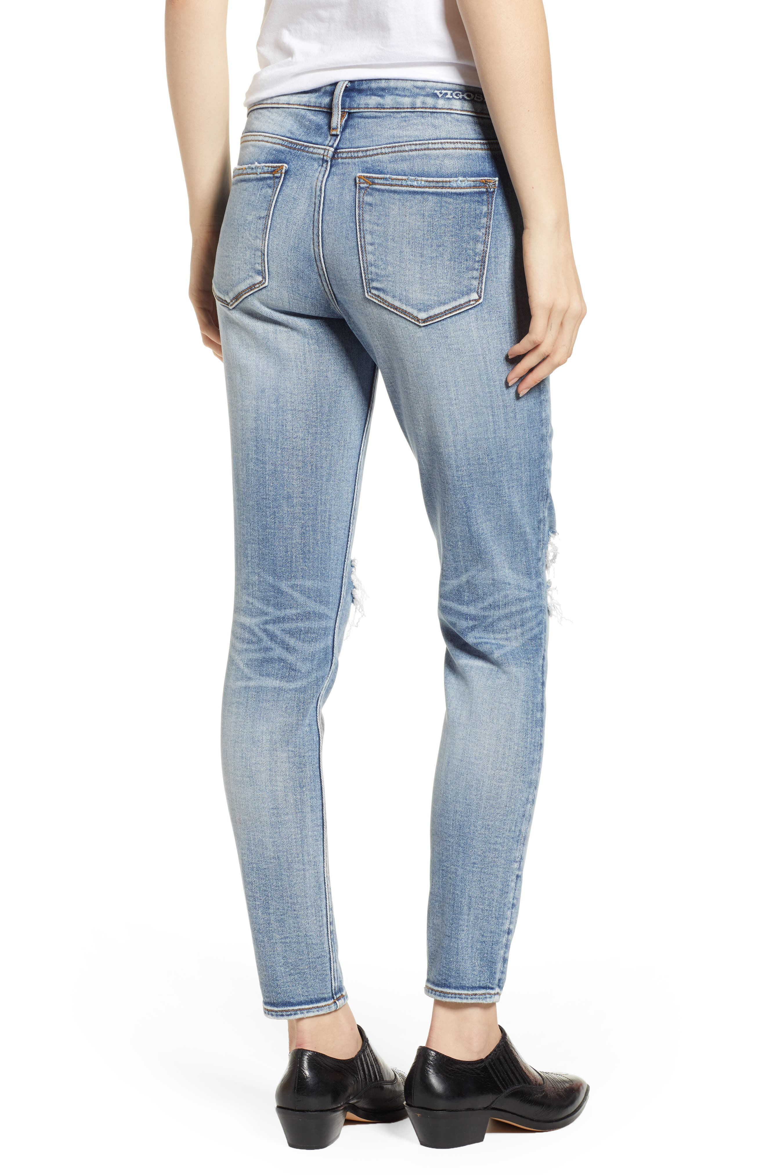 Jagger Ripped Skinny Jeans,                             Alternate thumbnail 2, color,                             LIGHT WASH
