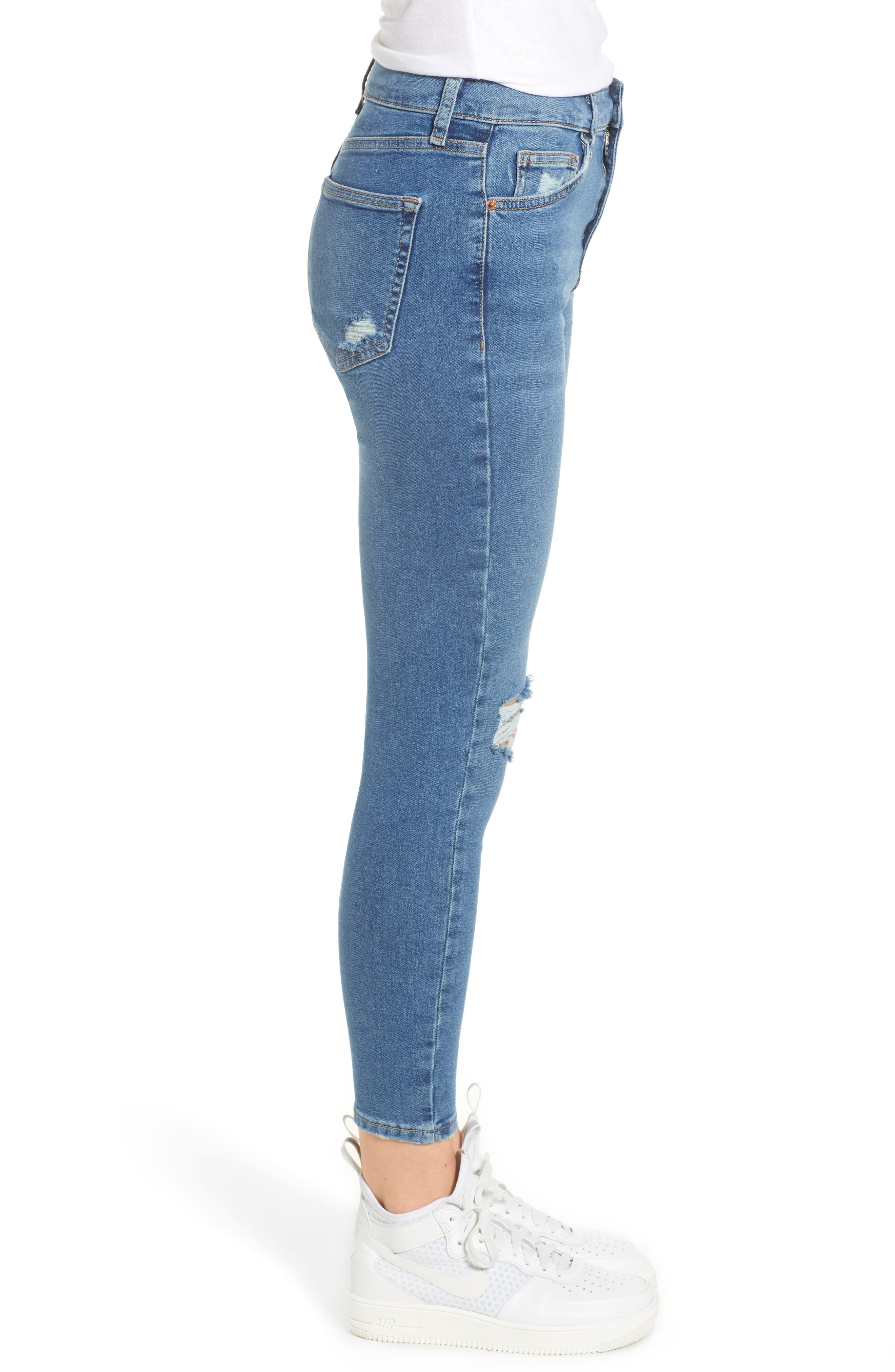 TOPSHOP,                             Jamie Ripped Jeans,                             Alternate thumbnail 4, color,                             MID DENIM
