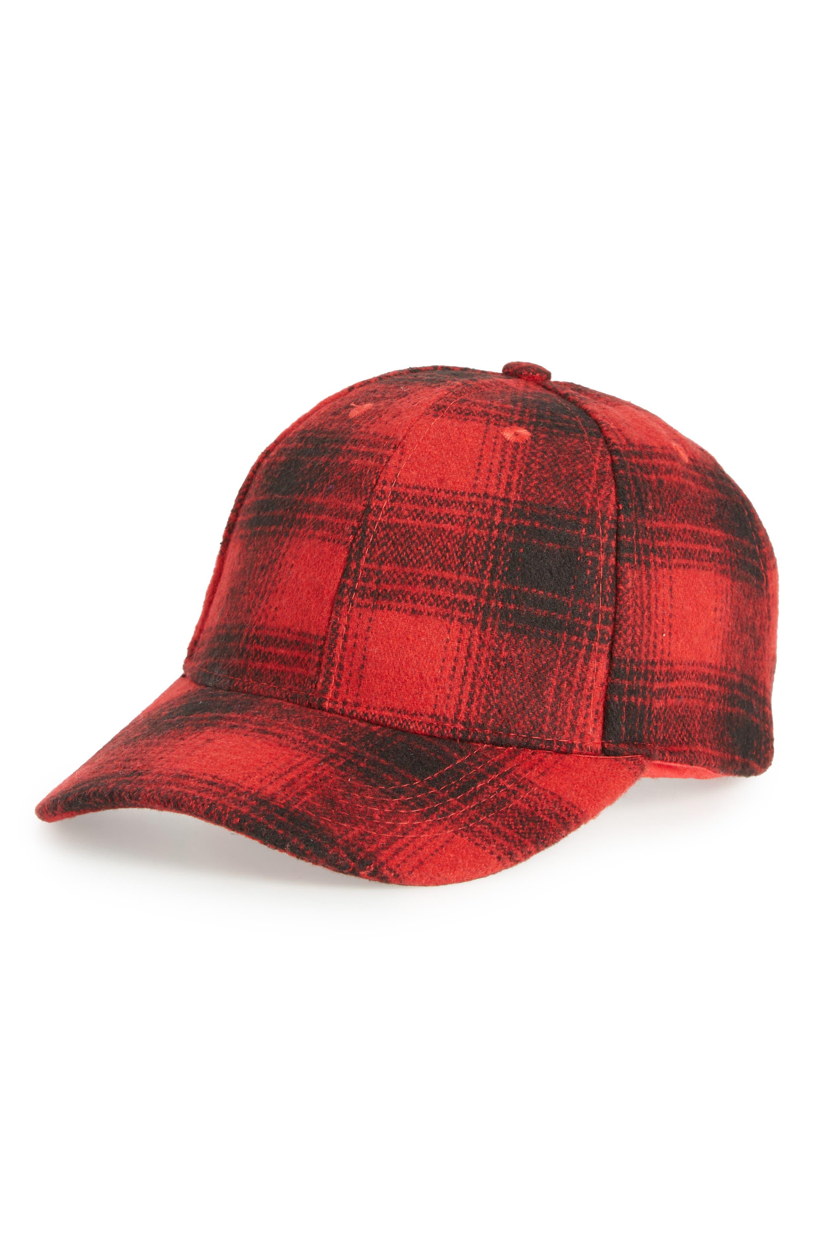 Buffalo Check Baseball Cap,                         Main,                         color, RED CHINOISE