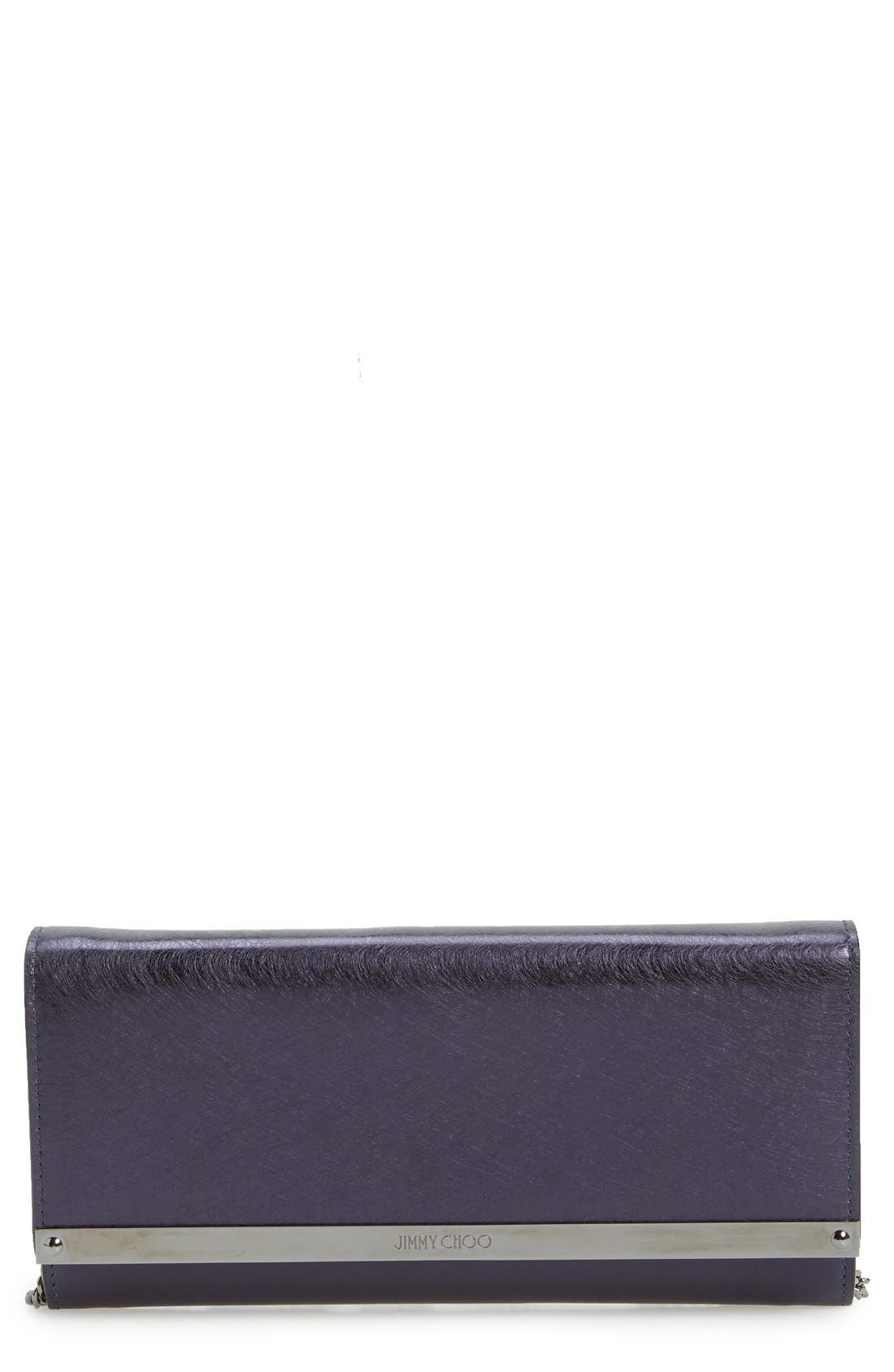 'Milla' Etched Metallic Spazzolato Leather Flap Clutch,                             Main thumbnail 1, color,                             410