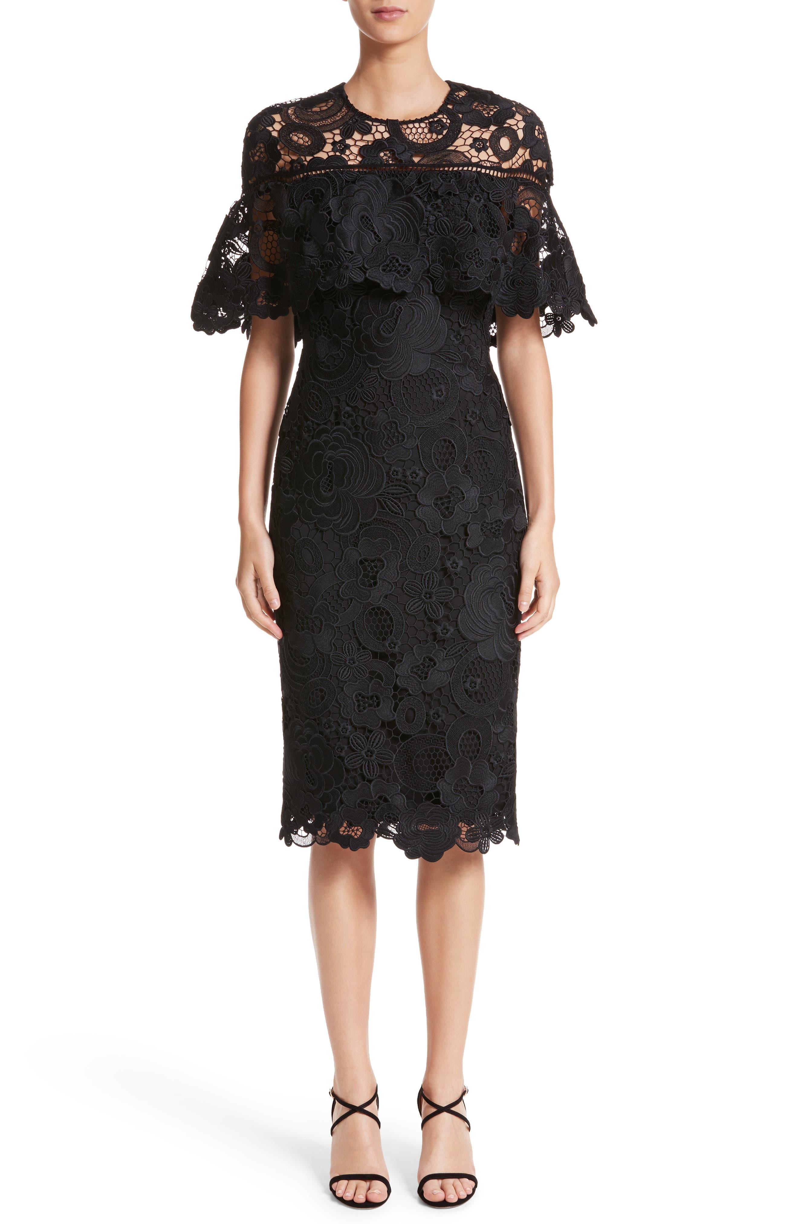 Lace Capelet Sheath Dress,                             Main thumbnail 1, color,                             001
