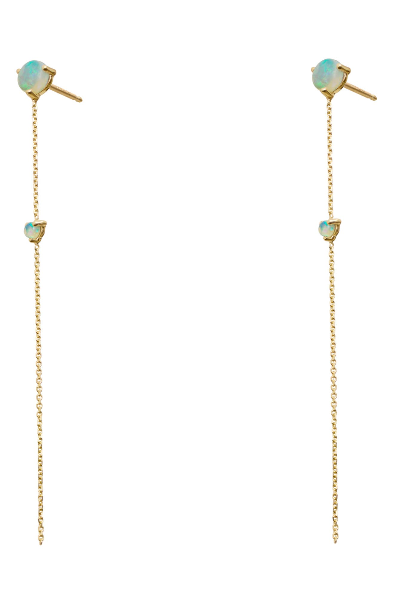 Opal Two-Stone Drop Earrings,                             Alternate thumbnail 2, color,                             14KT GOLD