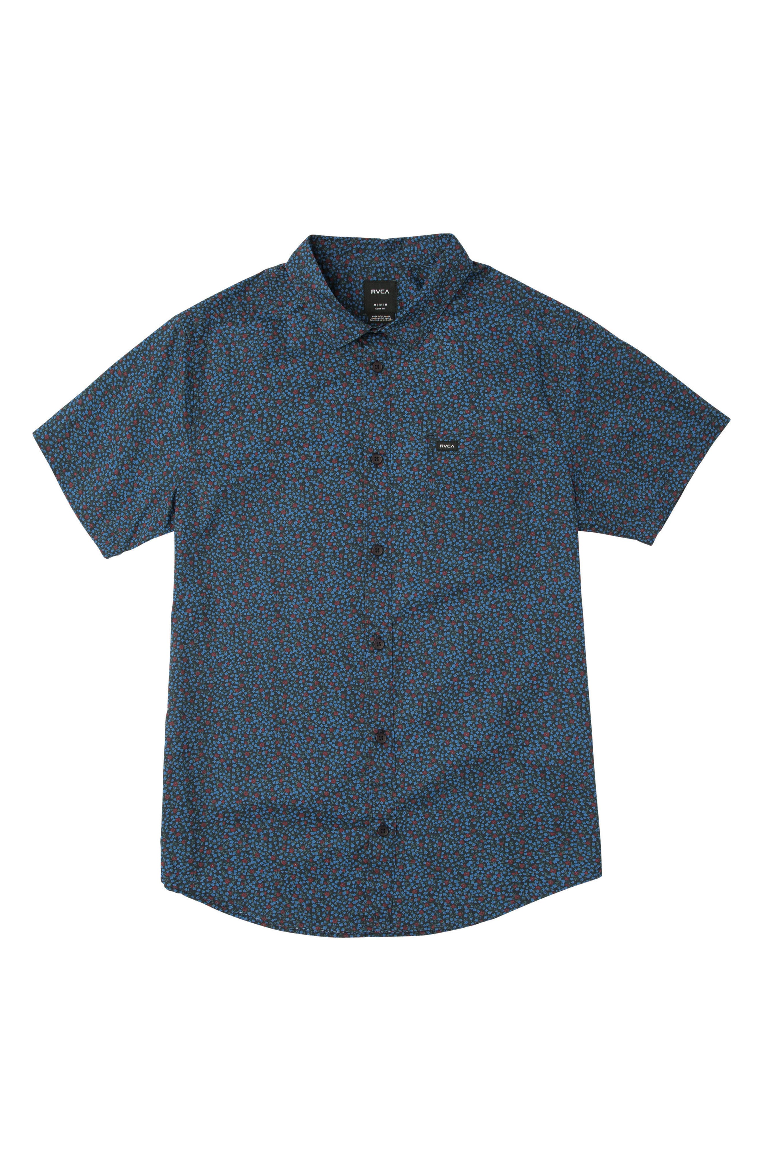 Happy Thoughts Print Woven Shirt,                             Main thumbnail 1, color,                             001
