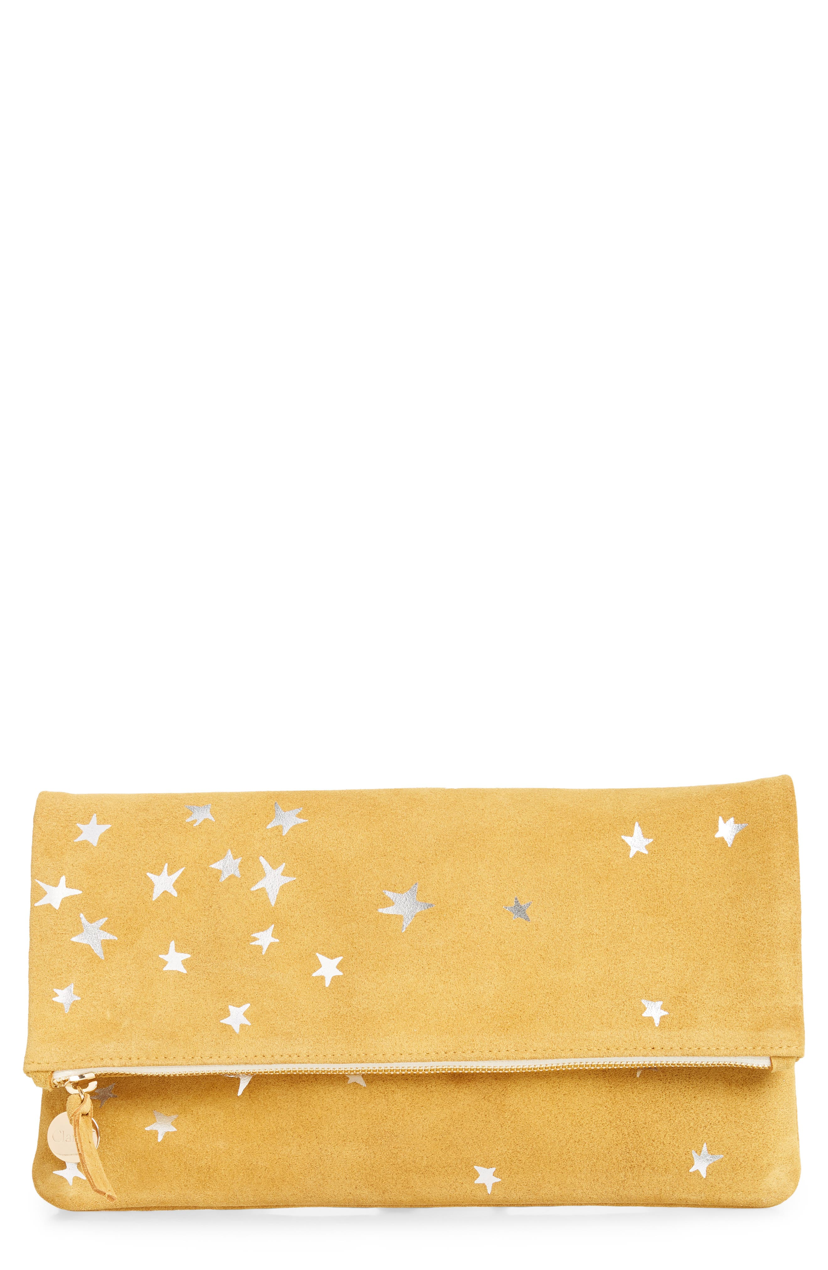 CLARE V Margot Star Print Foldover Suede Clutch - Yellow in Mustard Stars