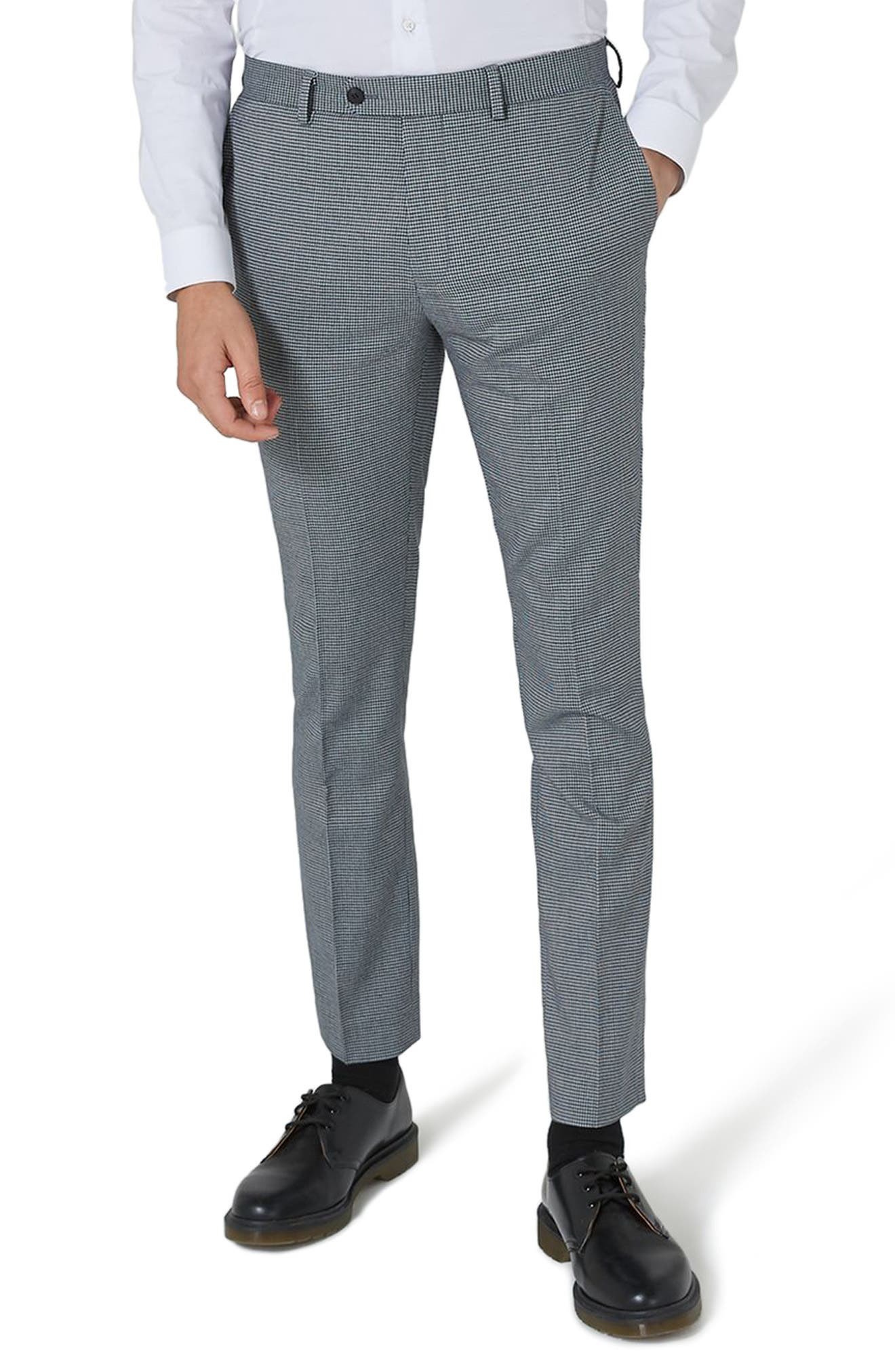 Skinny Fit Houndstooth Suit Trousers,                             Main thumbnail 1, color,                             300