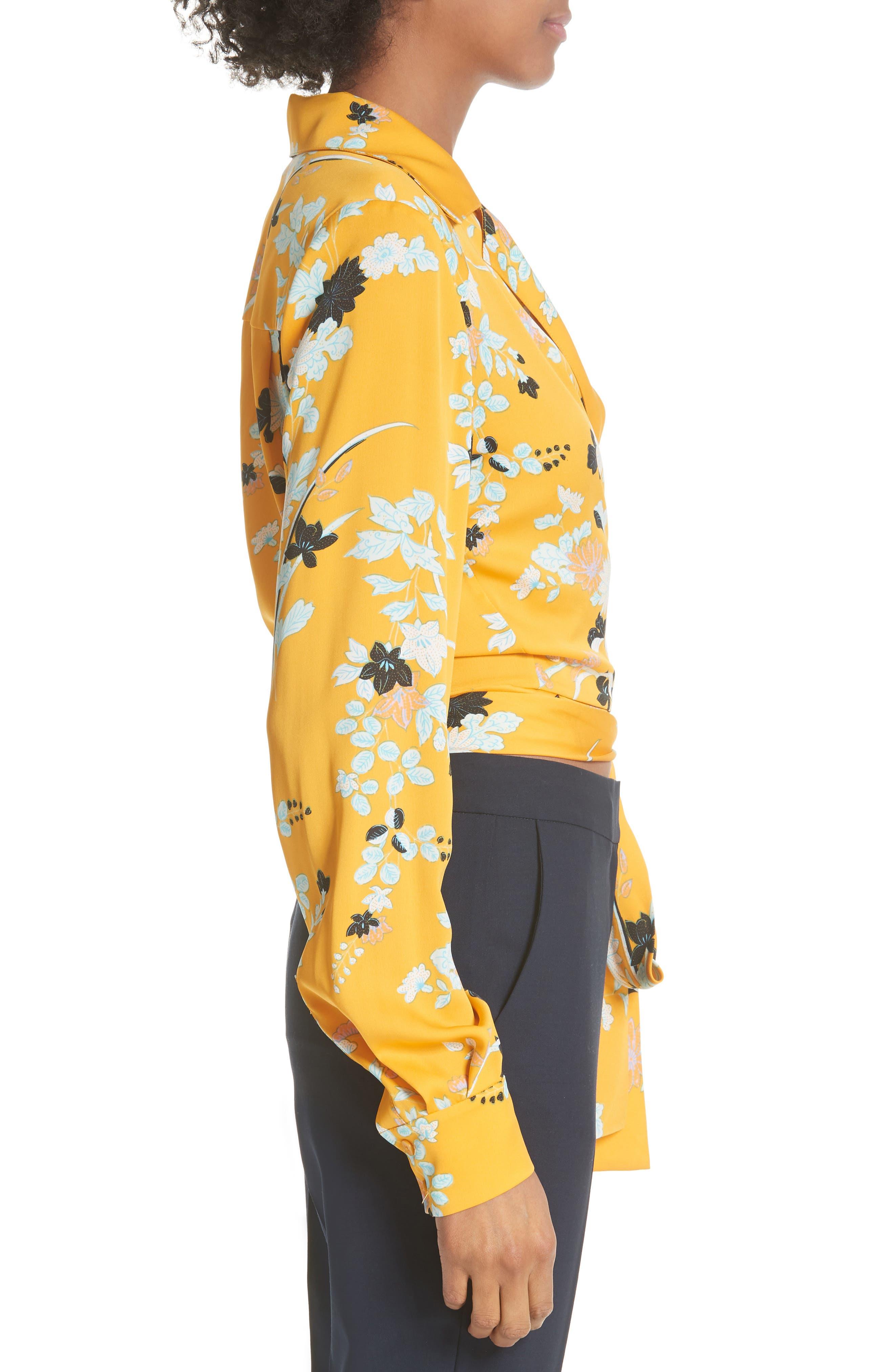 Floral Silk Wrap Blouse,                             Alternate thumbnail 3, color,