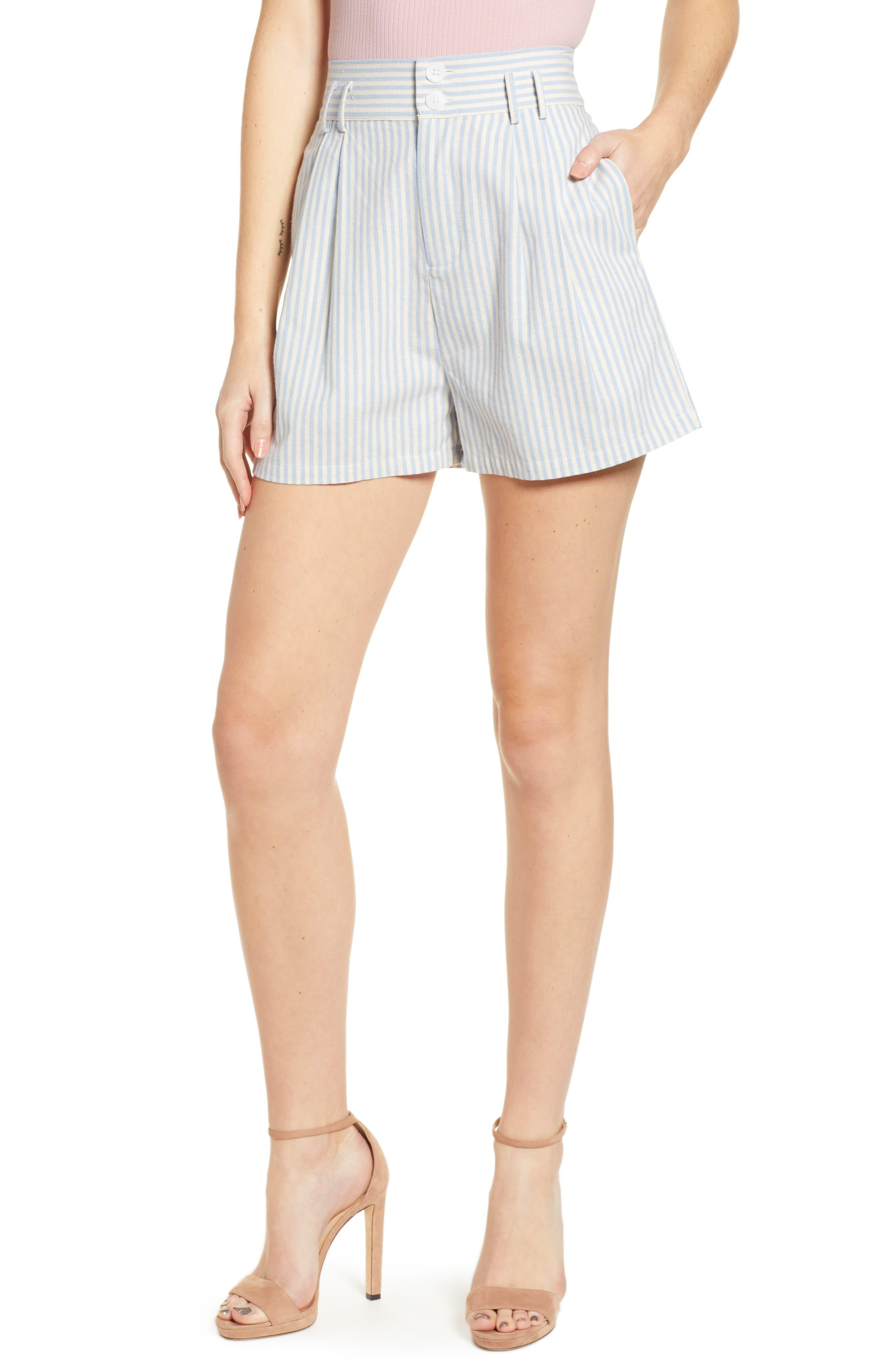Vintage High Waisted Shorts, Sailor Shorts, Retro Shorts Womens English Factory Striped Bermuda Shorts $58.00 AT vintagedancer.com
