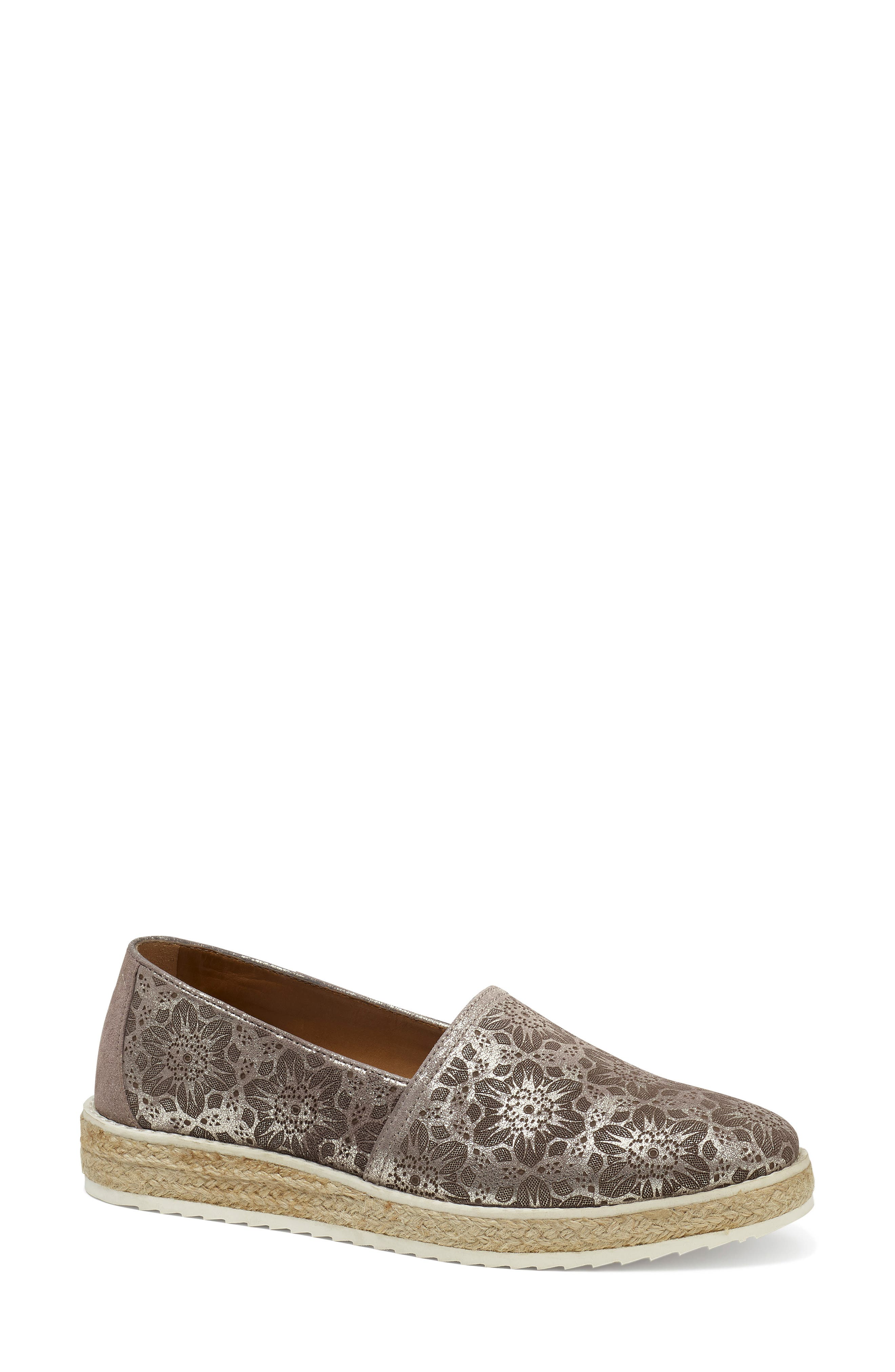 Cailyn Flat,                             Main thumbnail 1, color,                             PEWTER METALLIC SUEDE