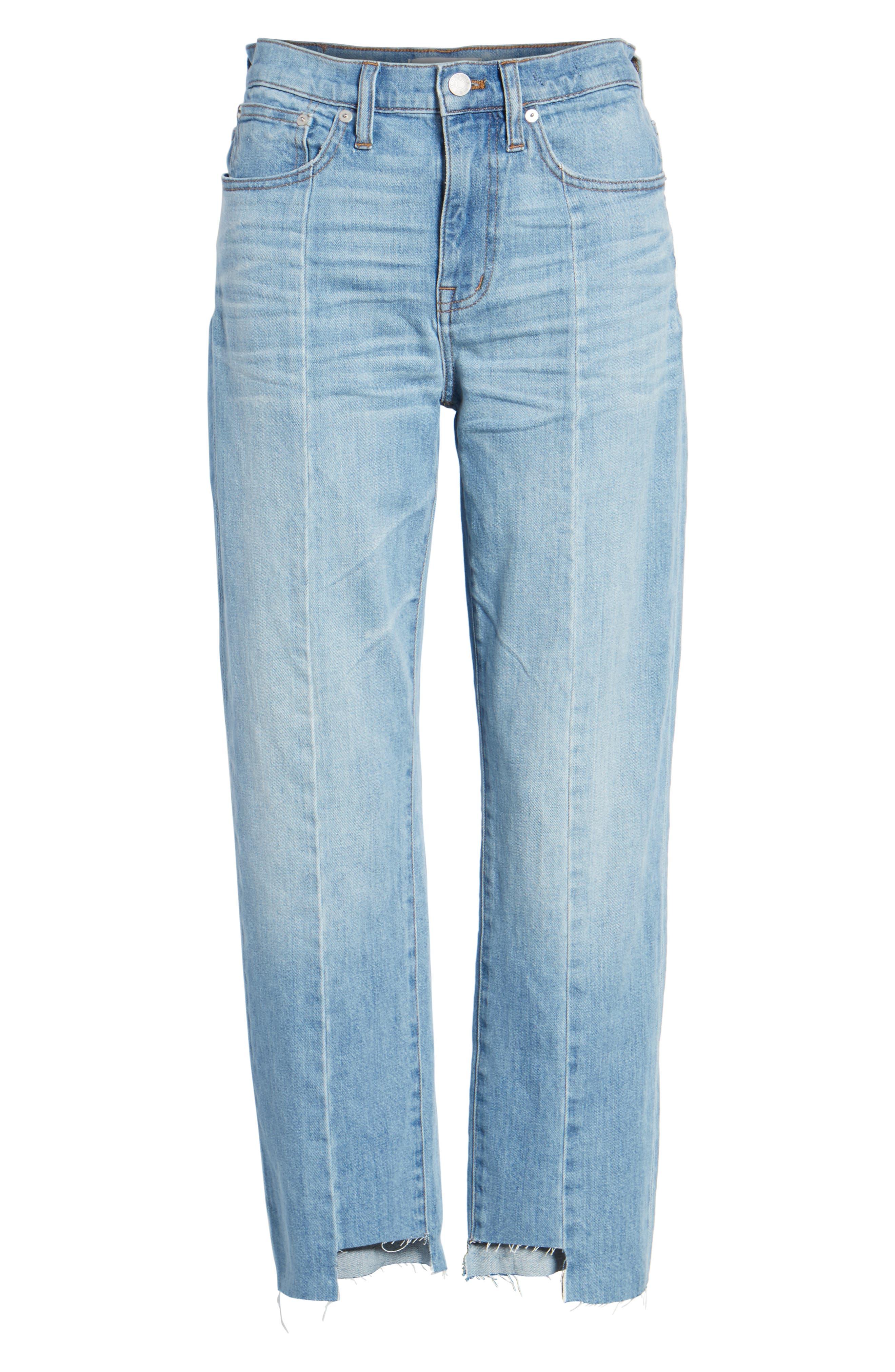 Cruiser Pieced High Waist Straight Leg Jeans,                             Alternate thumbnail 6, color,                             400