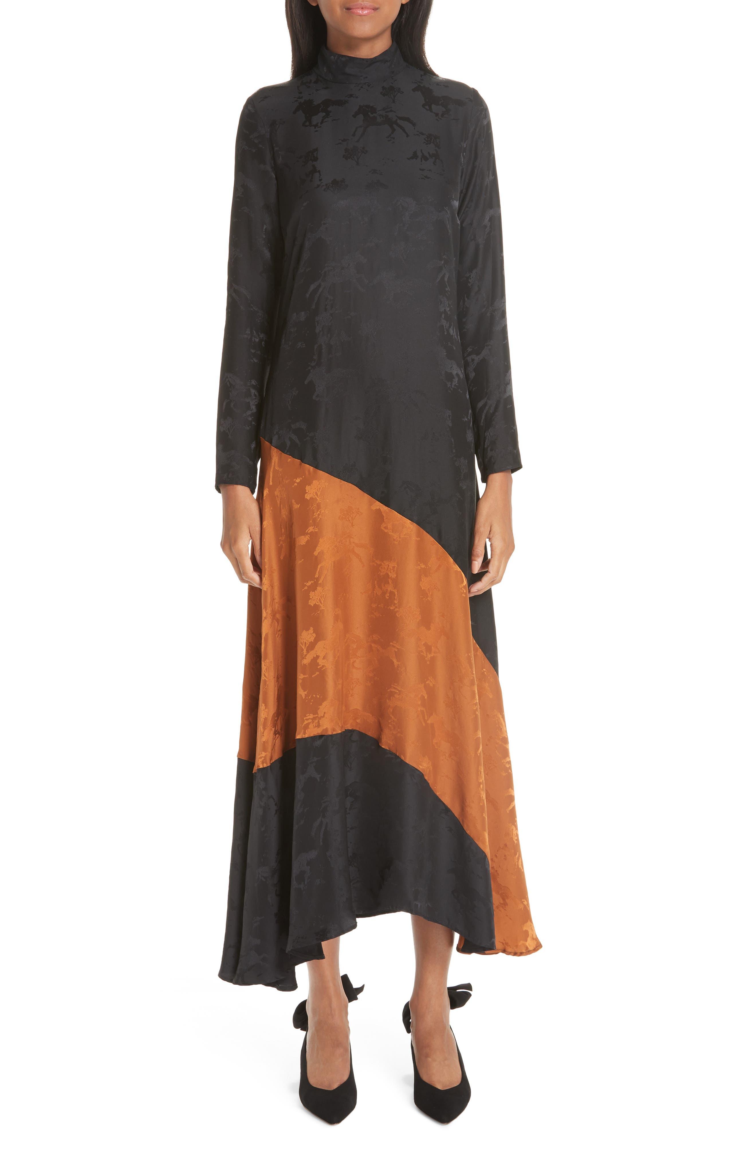 Silk Jacquard Dress,                             Main thumbnail 1, color,                             BLACK 099