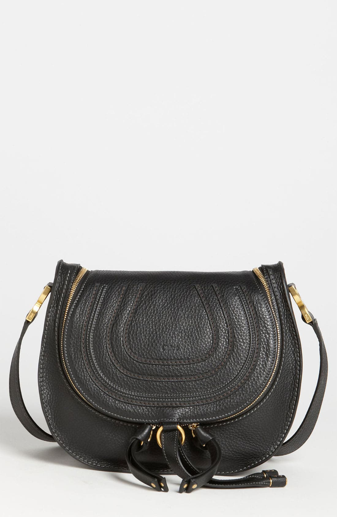 'Marcie' Leather Crossbody Bag, Main, color, 001