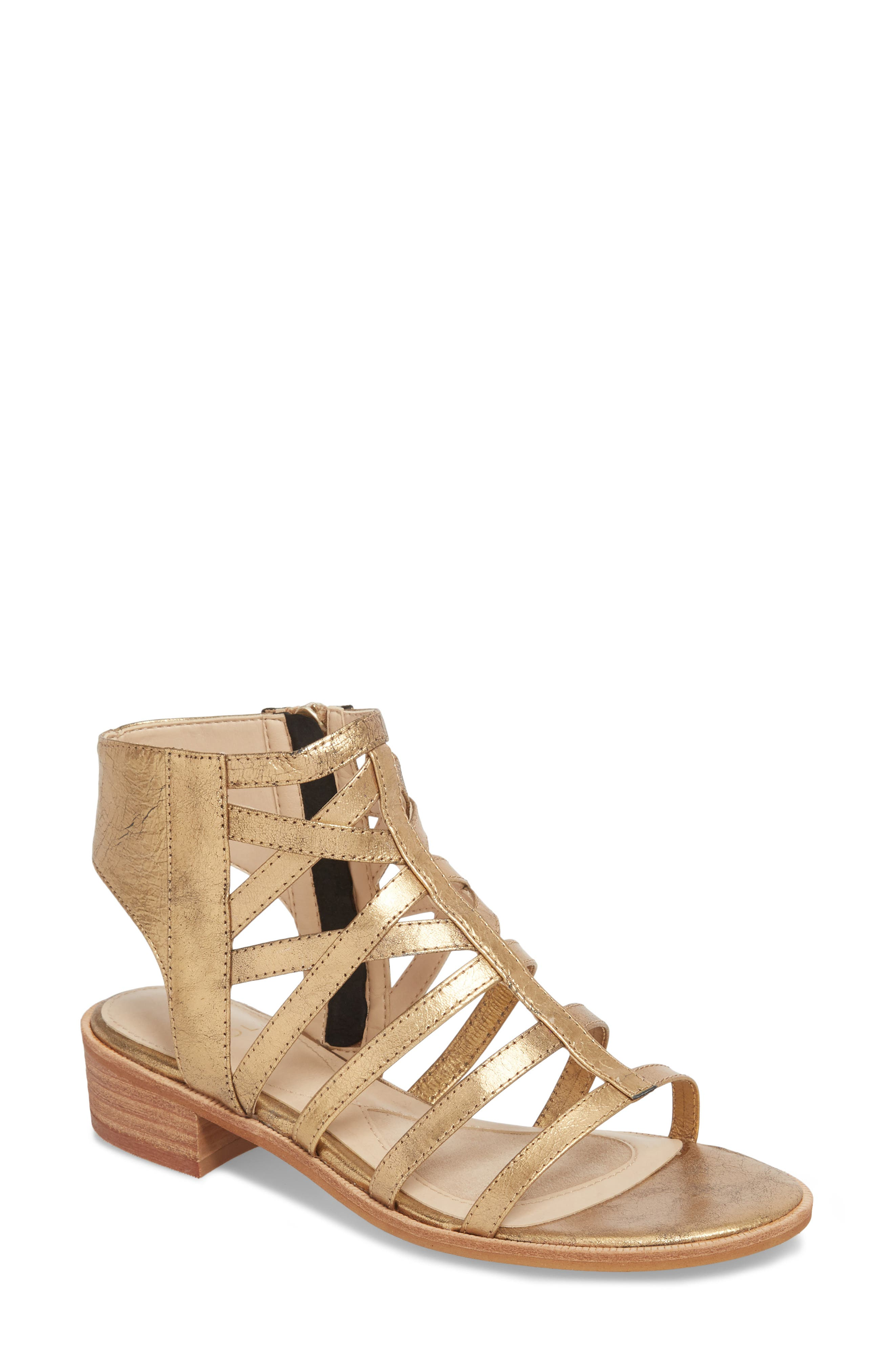 Genesis Cage Sandal,                             Main thumbnail 1, color,                             OLD GOLD LEATHER
