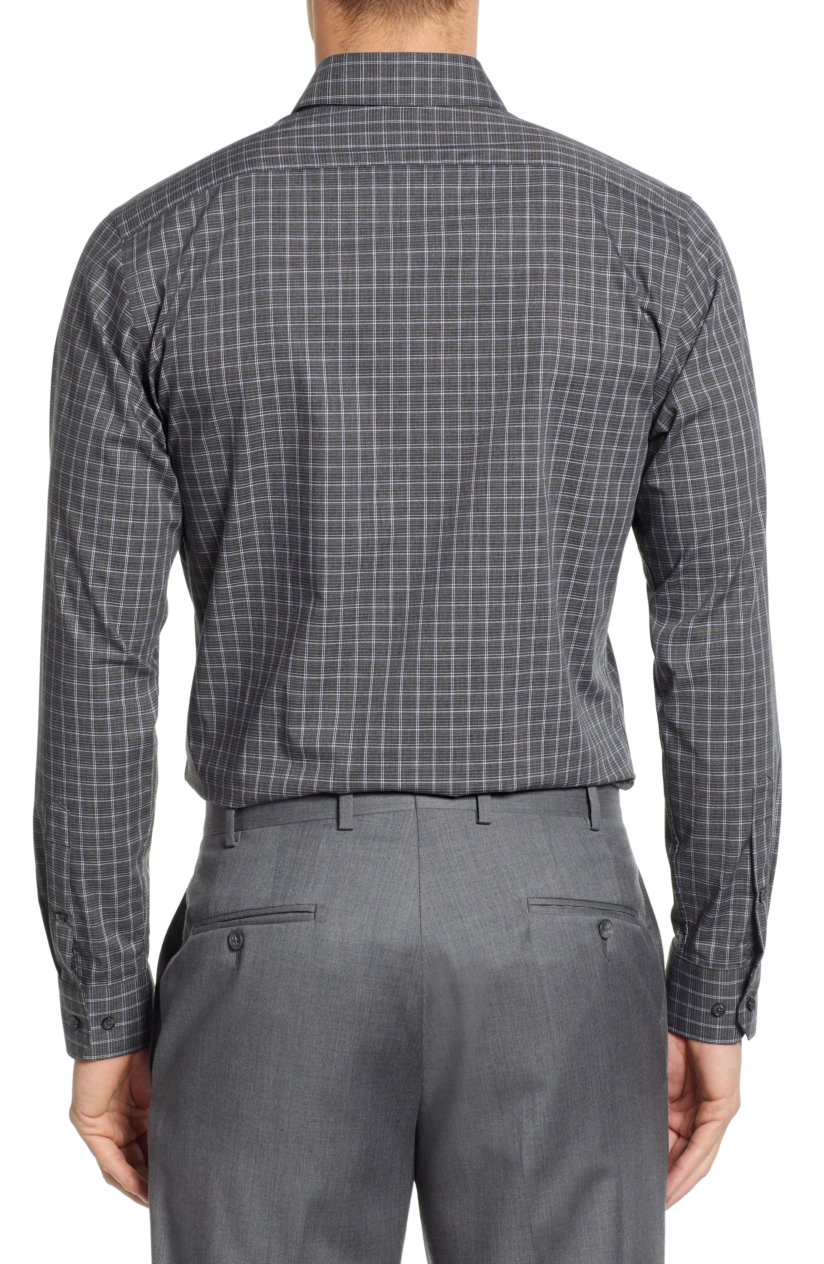 Trim Fit Non-Iron Check Dress Shirt,                             Alternate thumbnail 3, color,                             GREY ONYX