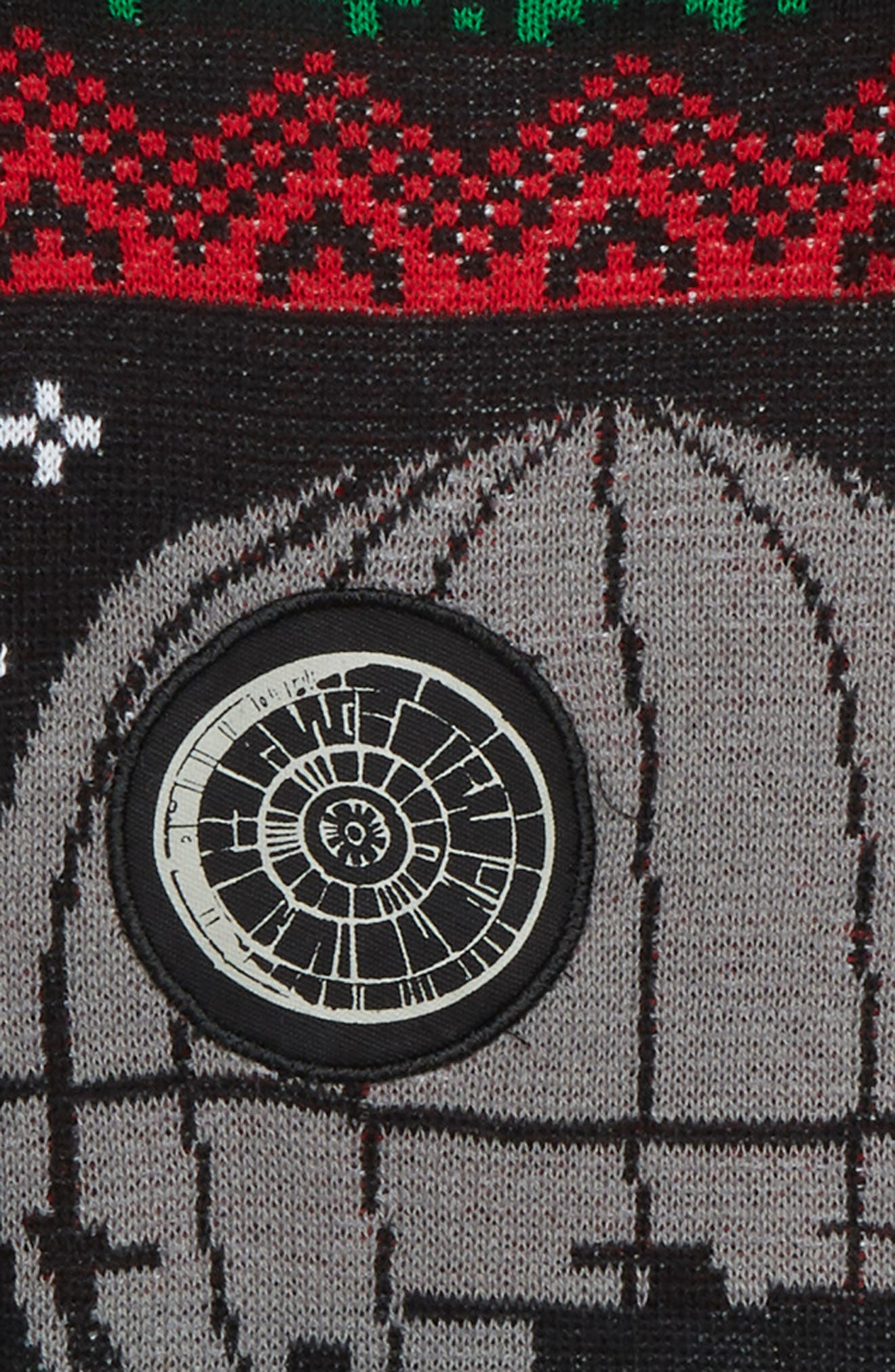 x Star Wars<sup>™</sup> Death Star Musical Holiday Sweater,                             Alternate thumbnail 2, color,                             BLACK