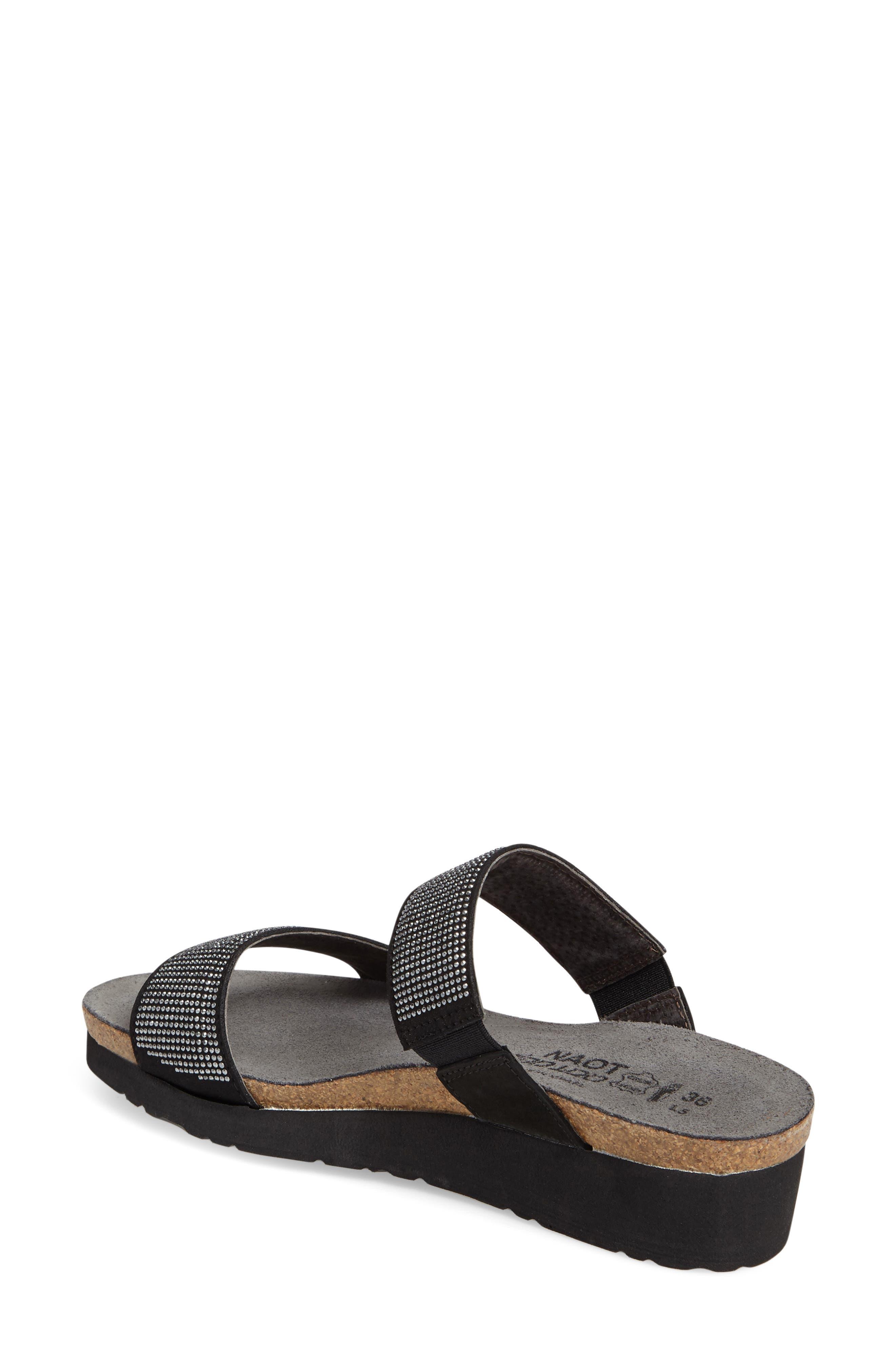 'Bianca' Slide Sandal,                             Alternate thumbnail 2, color,                             BLACK LEATHER