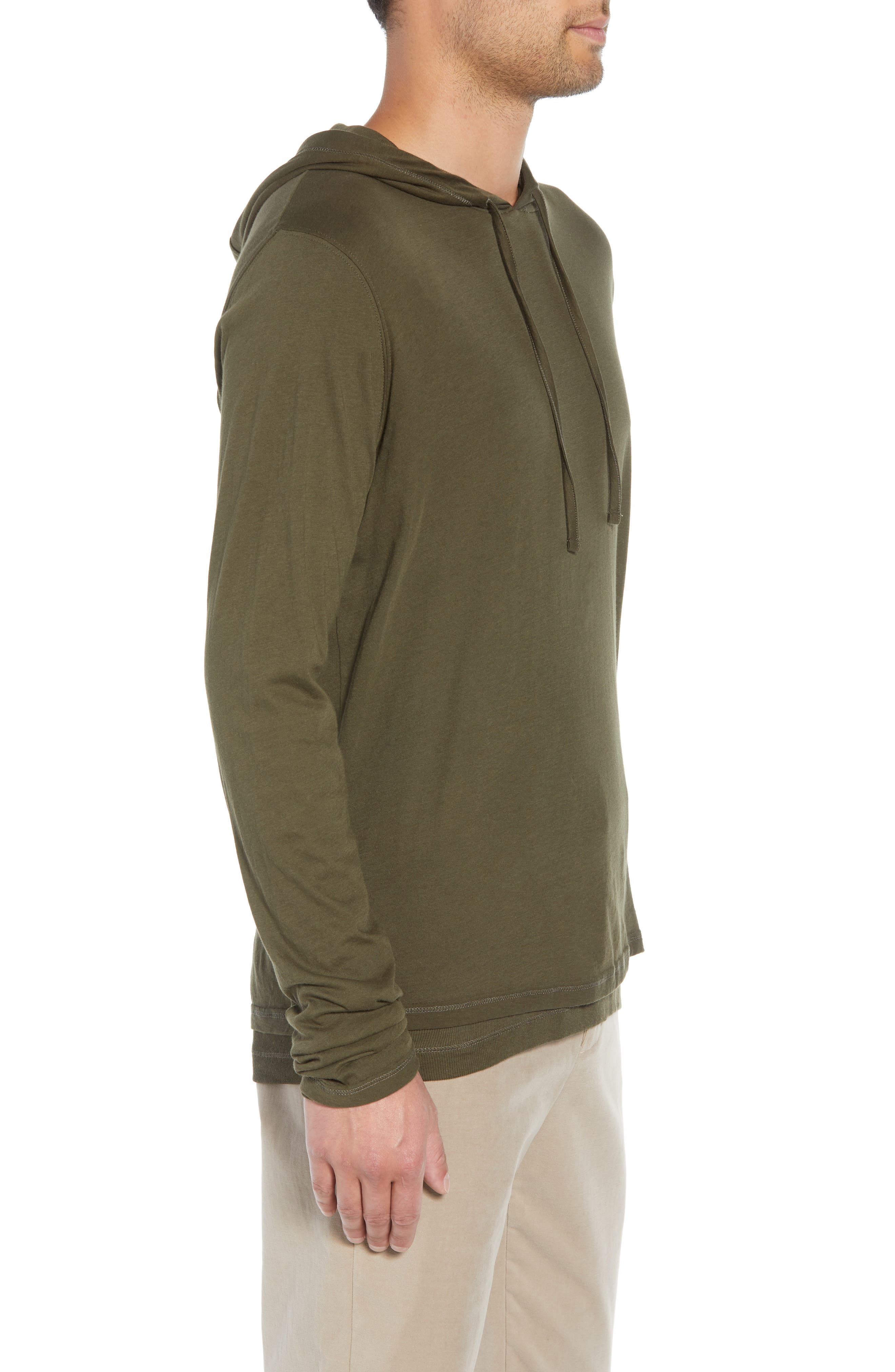 VINCE,                             Regular Fit Double Layer Hoodie,                             Alternate thumbnail 3, color,                             374